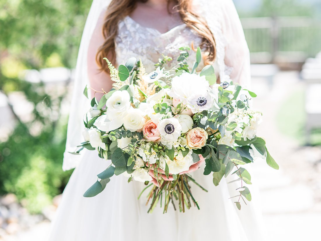 bridal bouquet, anemones, white, pink, pollen nation, A Sage Green Summer Wedding at Le Belvedere