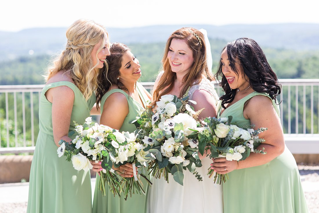 Laughing bridesmaids, A Sage Green Summer Wedding at Le Belvedere