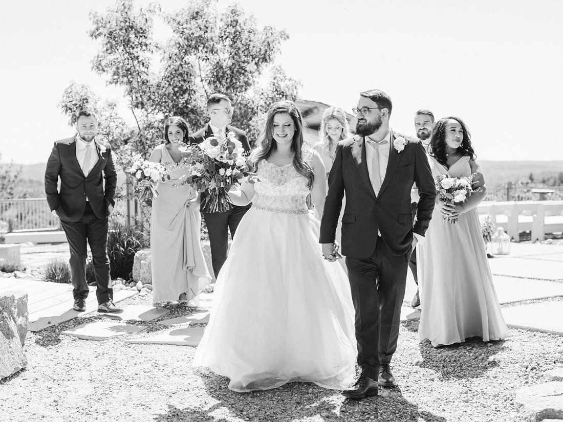 walking bridal party, A Sage Green Summer Wedding at Le Belvedere