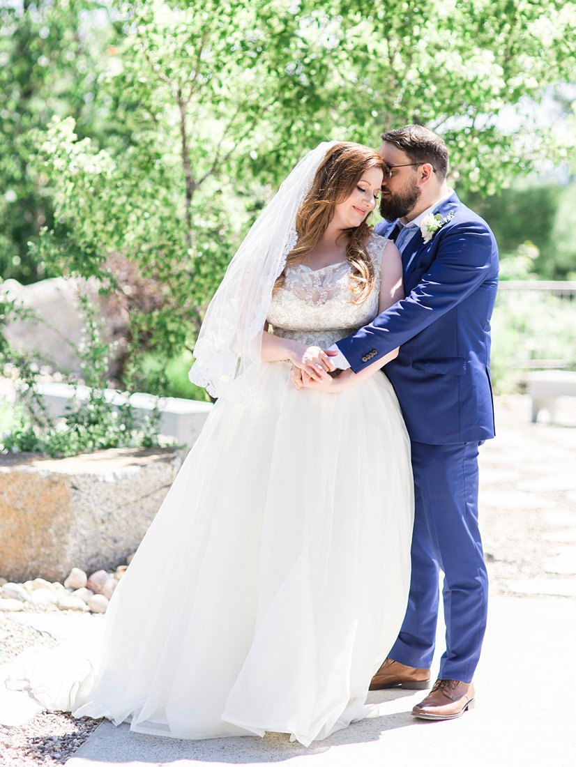 portraits, bride and groom standing, A Sage Green Summer Wedding at Le Belvedere