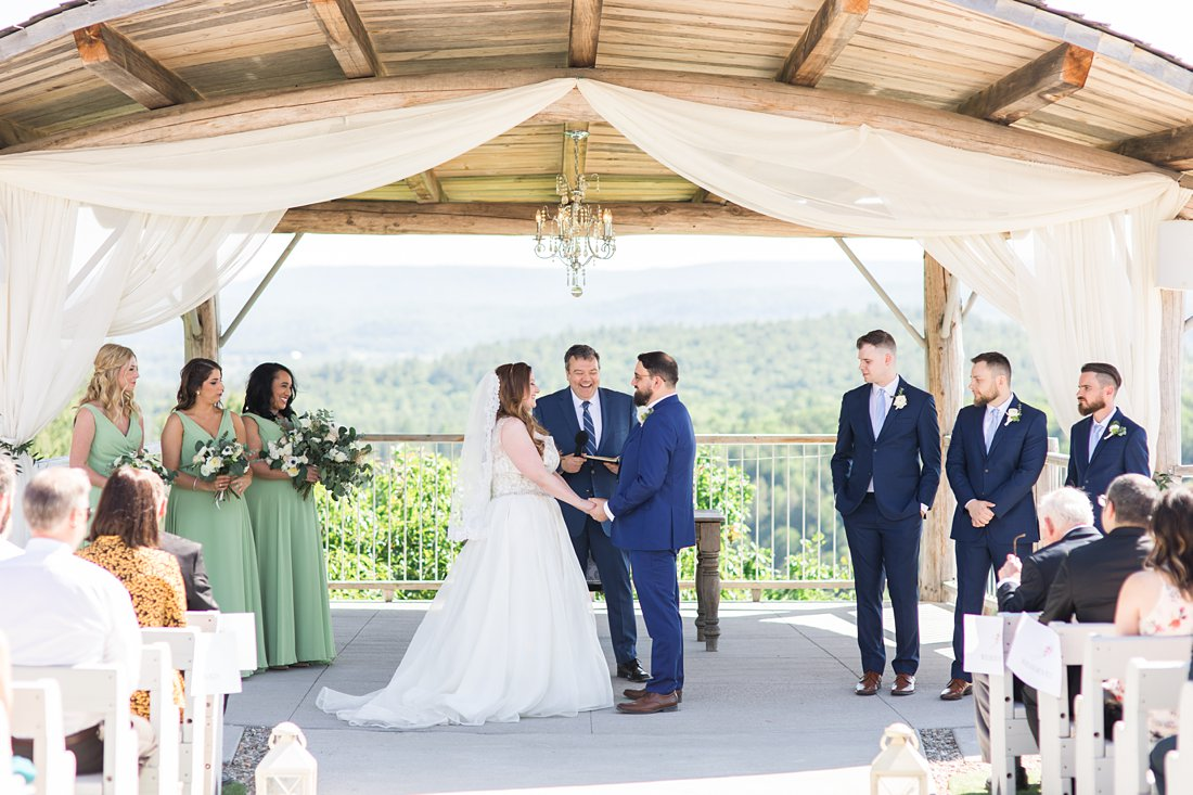 wedding ceremony, outdoors, standing, A Sage Green Summer Wedding at Le Belvedere