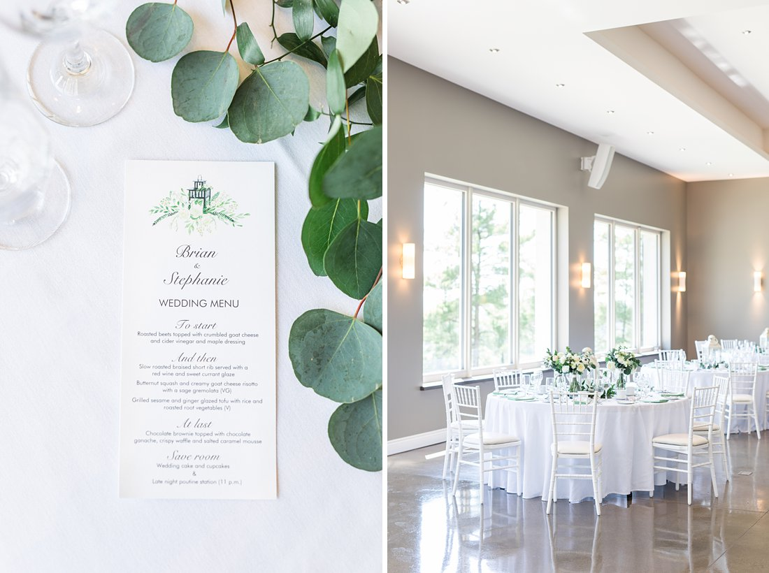 eucalyptus, menu, white tables, A Sage Green Summer Wedding at Le Belvedere