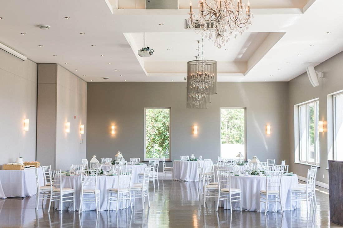 reception room, white tables, white chairs, chiavari, A Sage Green Summer Wedding at Le Belvedere