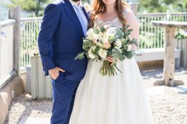 Bride groom standing, just married portraits, blue suit, wedding dress, A Sage Green Summer Wedding at Le Belvedere