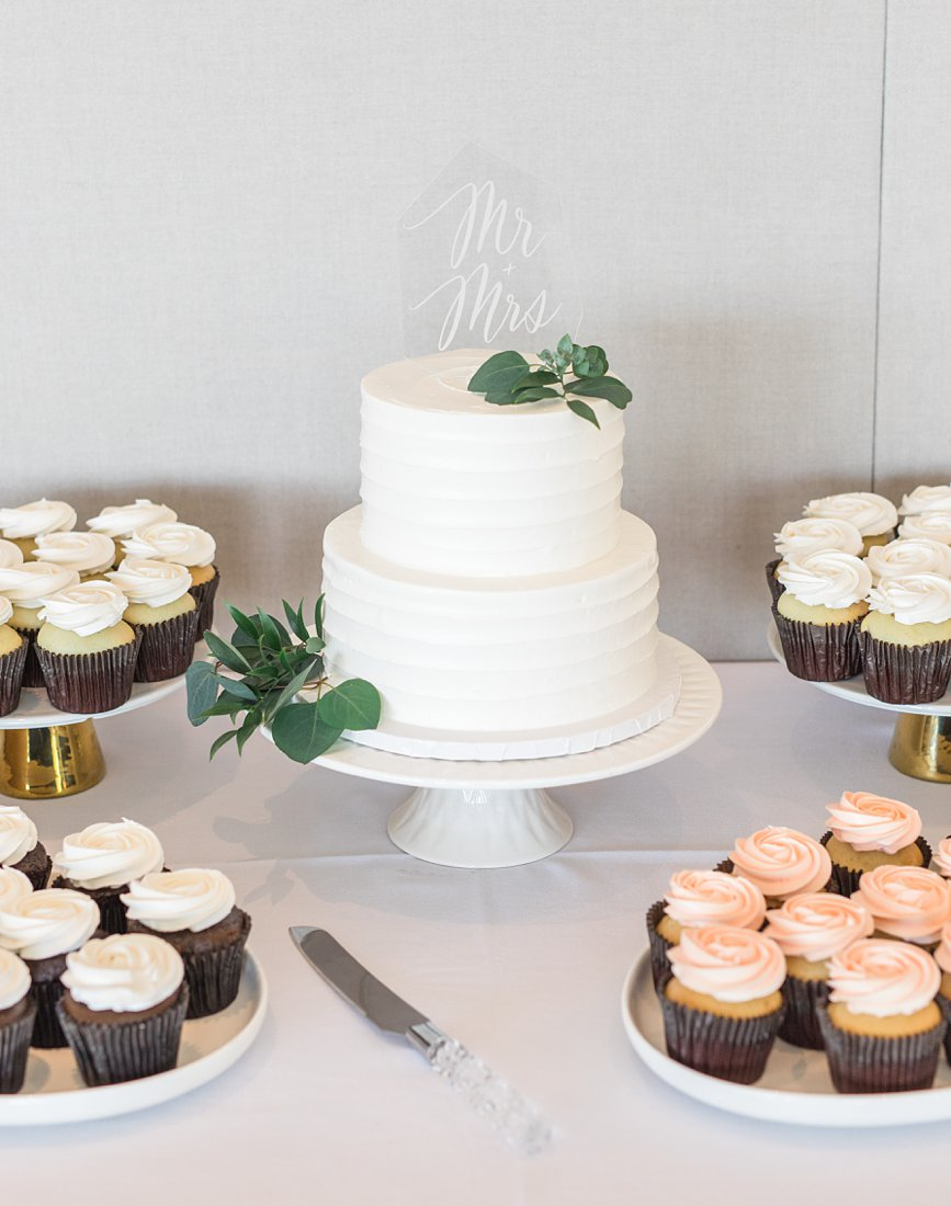 white wedding cake, cupcakes, A Sage Green Summer Wedding at Le Belvedere