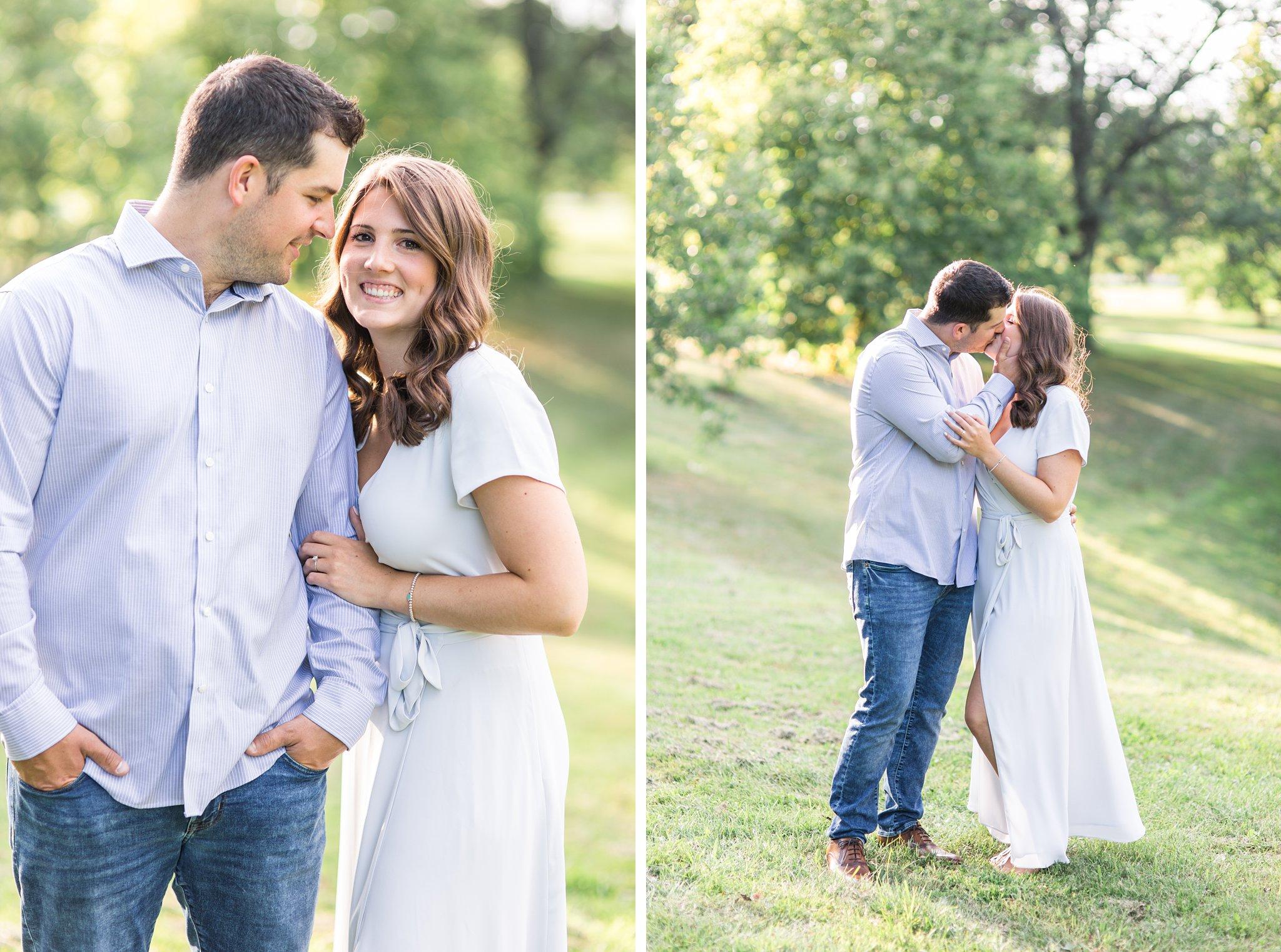 Happy couple, kiss, Fletcher's Wildlife Garden Engagement photos
