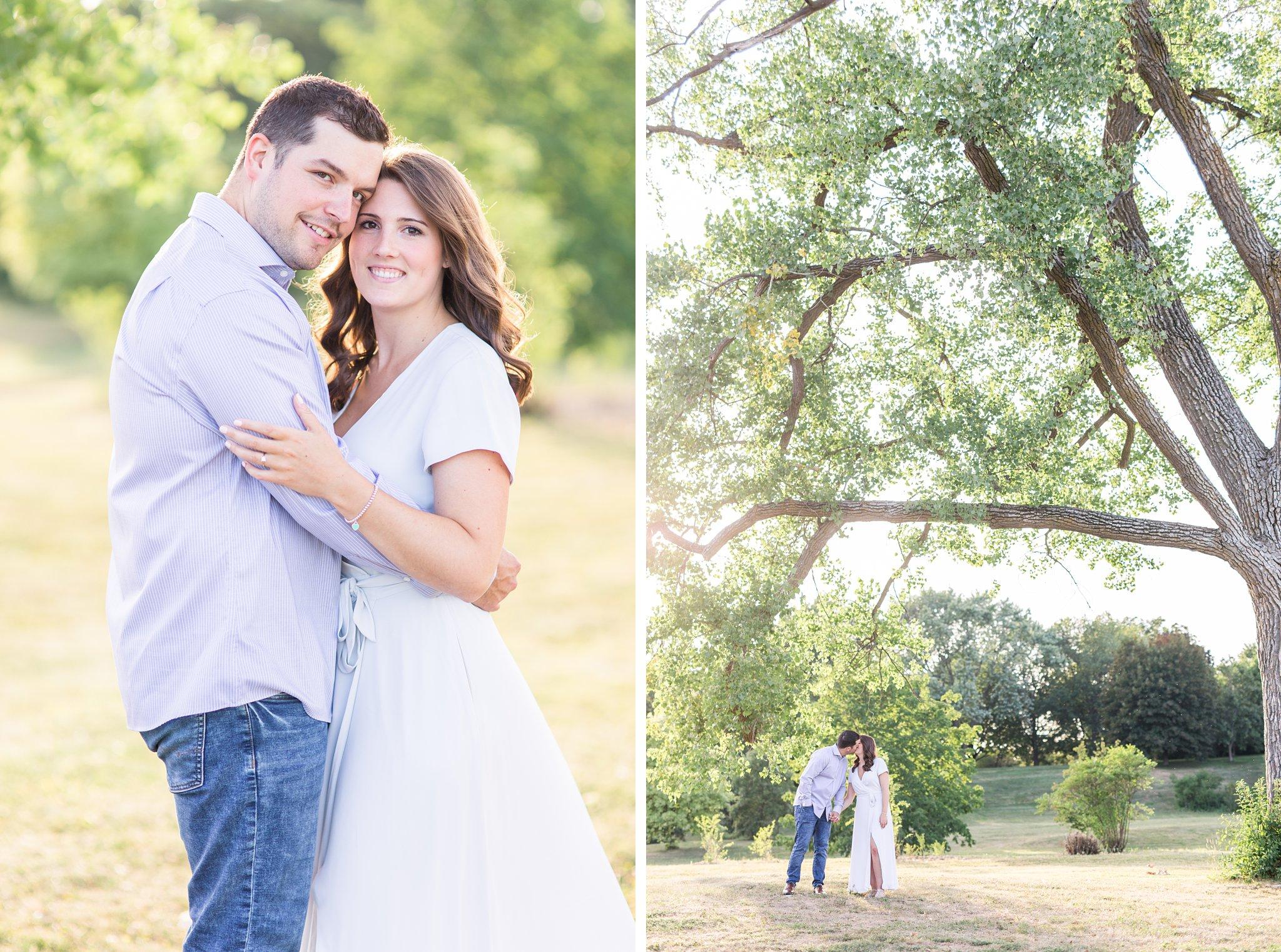 Light coloured outfits, groom button up shirt, dress, Fletcher's Wildlife Garden Engagement photos