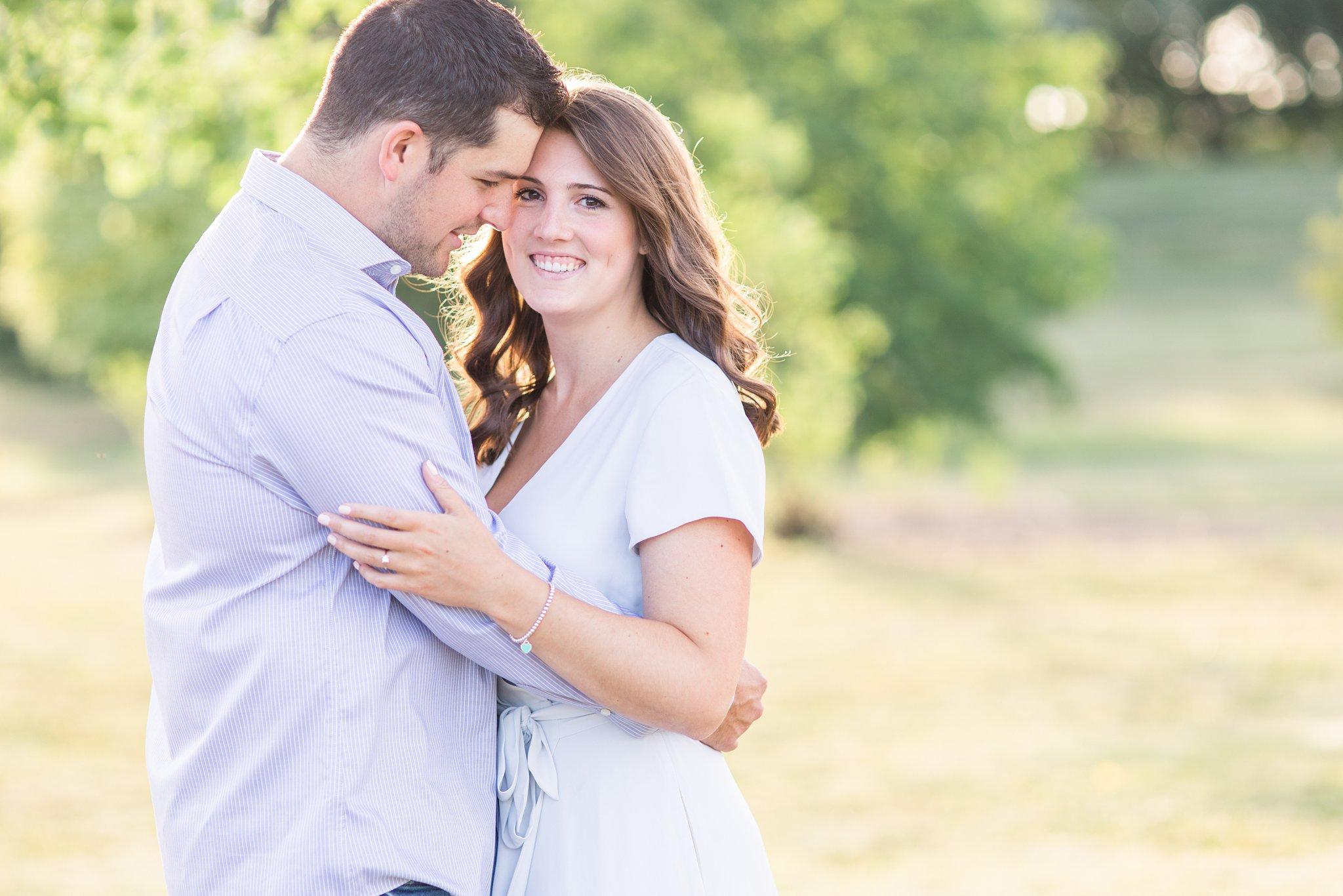 Bride in white engagement dress, Fletcher's Wildlife Garden Engagement photos