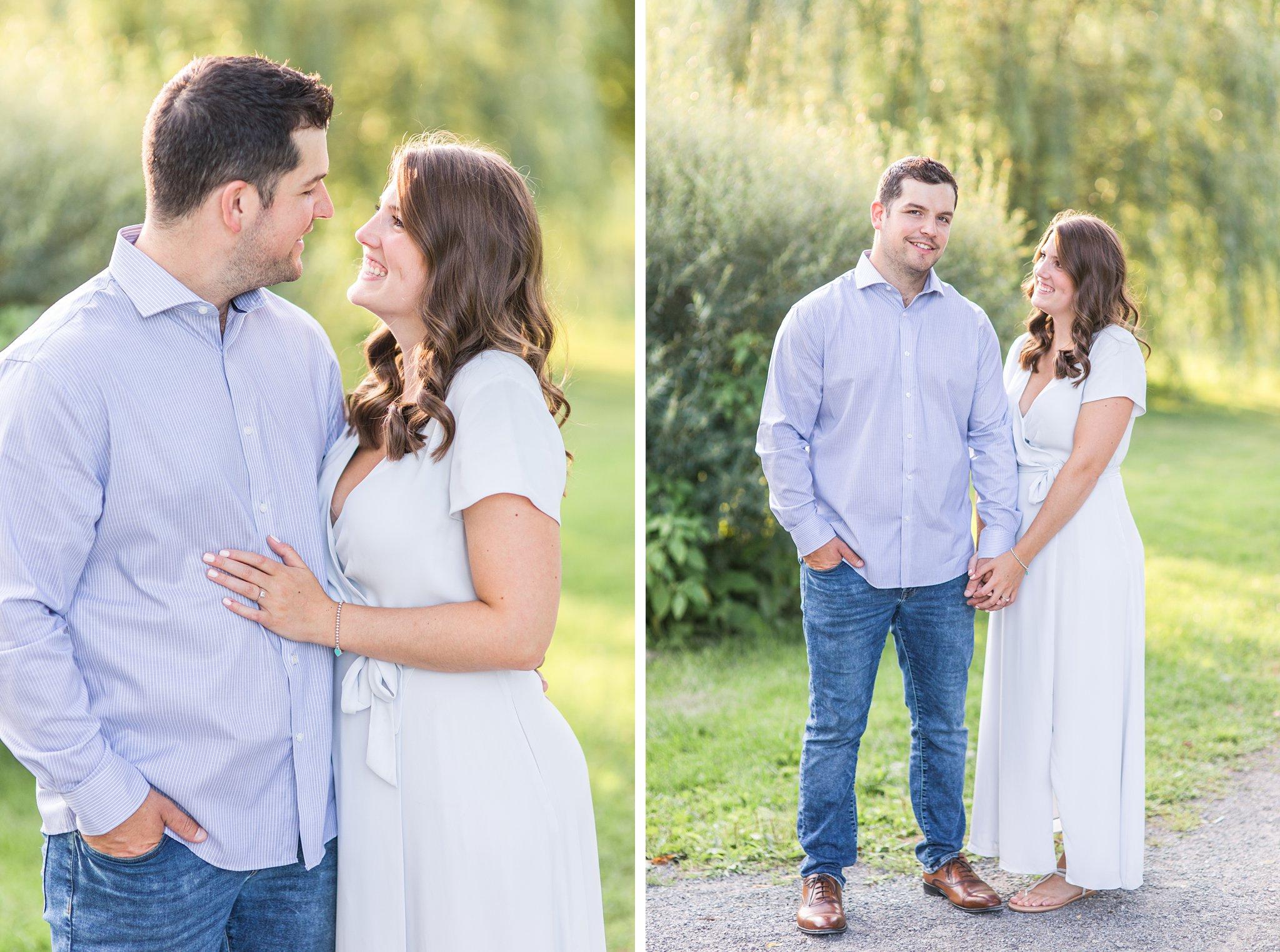 Couple, green grass, sunlight, Fletcher's Wildlife Garden Engagement photos