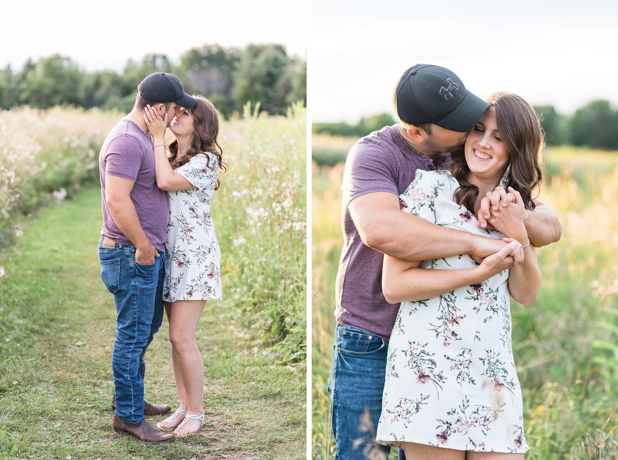 Baseball cap, white dress, Fletcher's Wildlife Garden Engagement photos