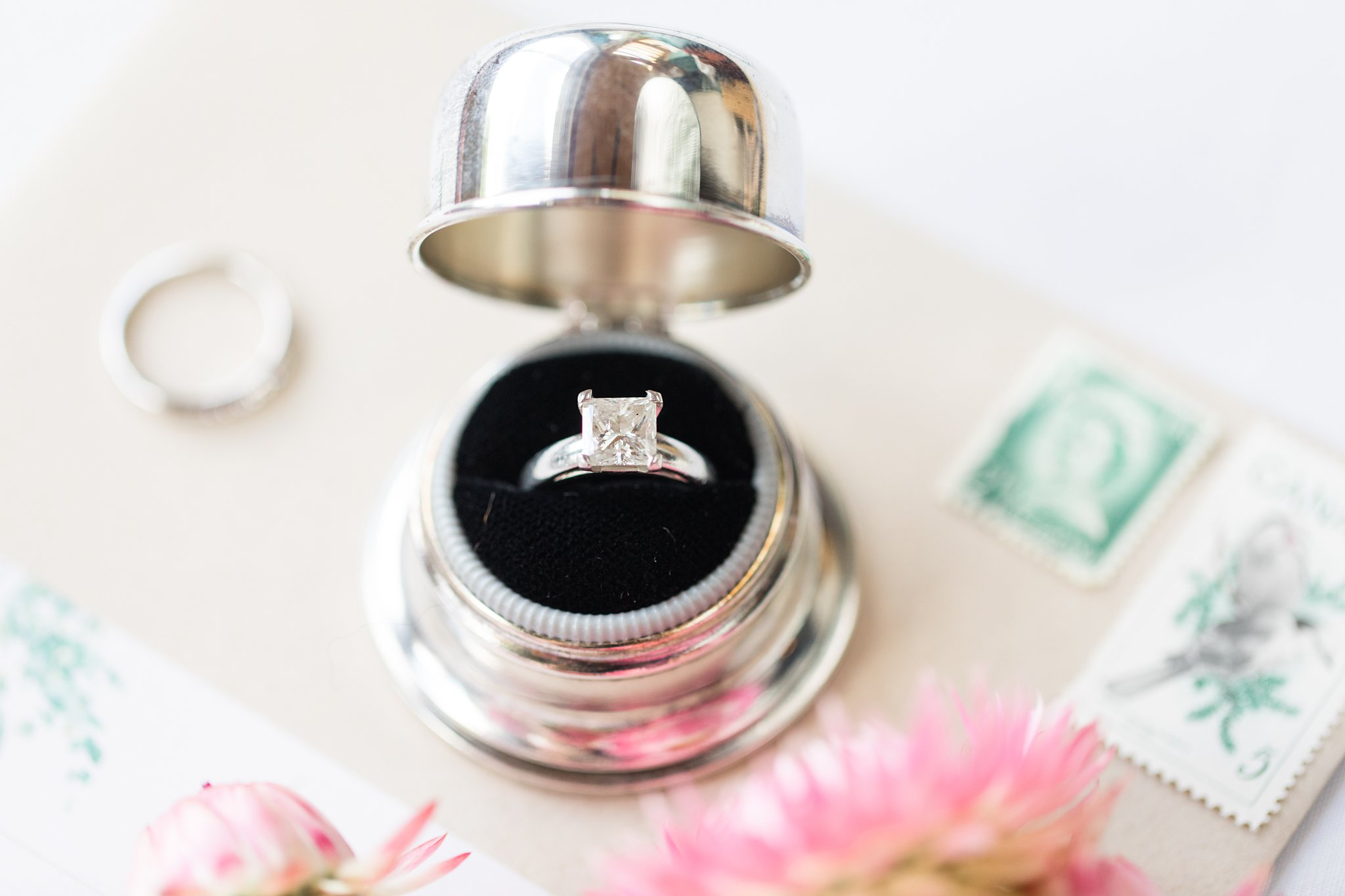 vintage ring box, square diamond ring, Private Estate Wedding Photos, Amy Pinder Photography