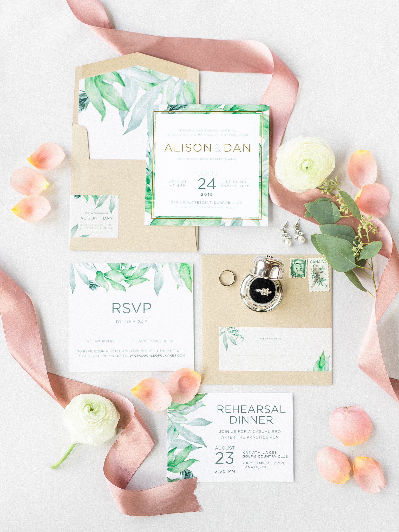 Invitation flat lay, ribbon, Wishtree, Private Estate Wedding Photos, Amy Pinder Photography