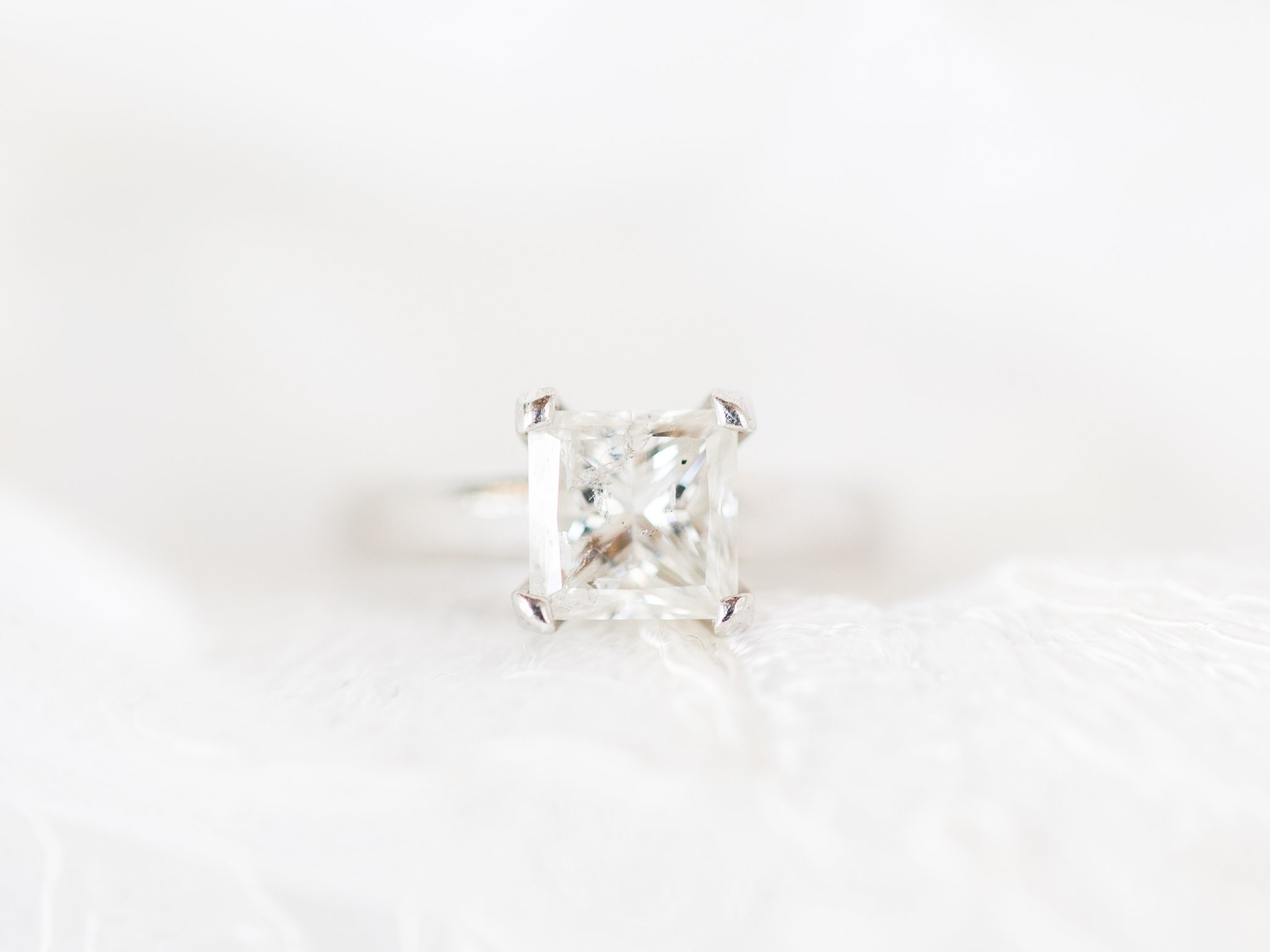 Square cut diamond ring, simple ring, sparkly, four pronged, Private Estate Wedding Photos, Amy Pinder Photography