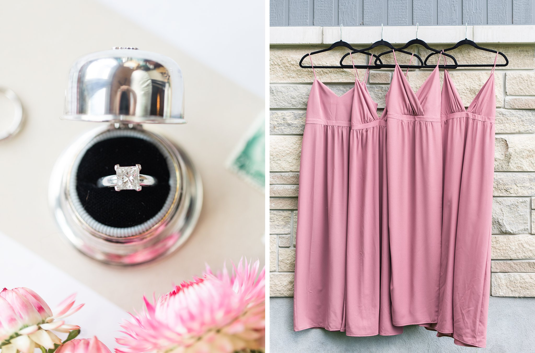 Dusty mauve bridesmaid dress, vintage ring box, Private Estate Wedding Photos, Amy Pinder Photography