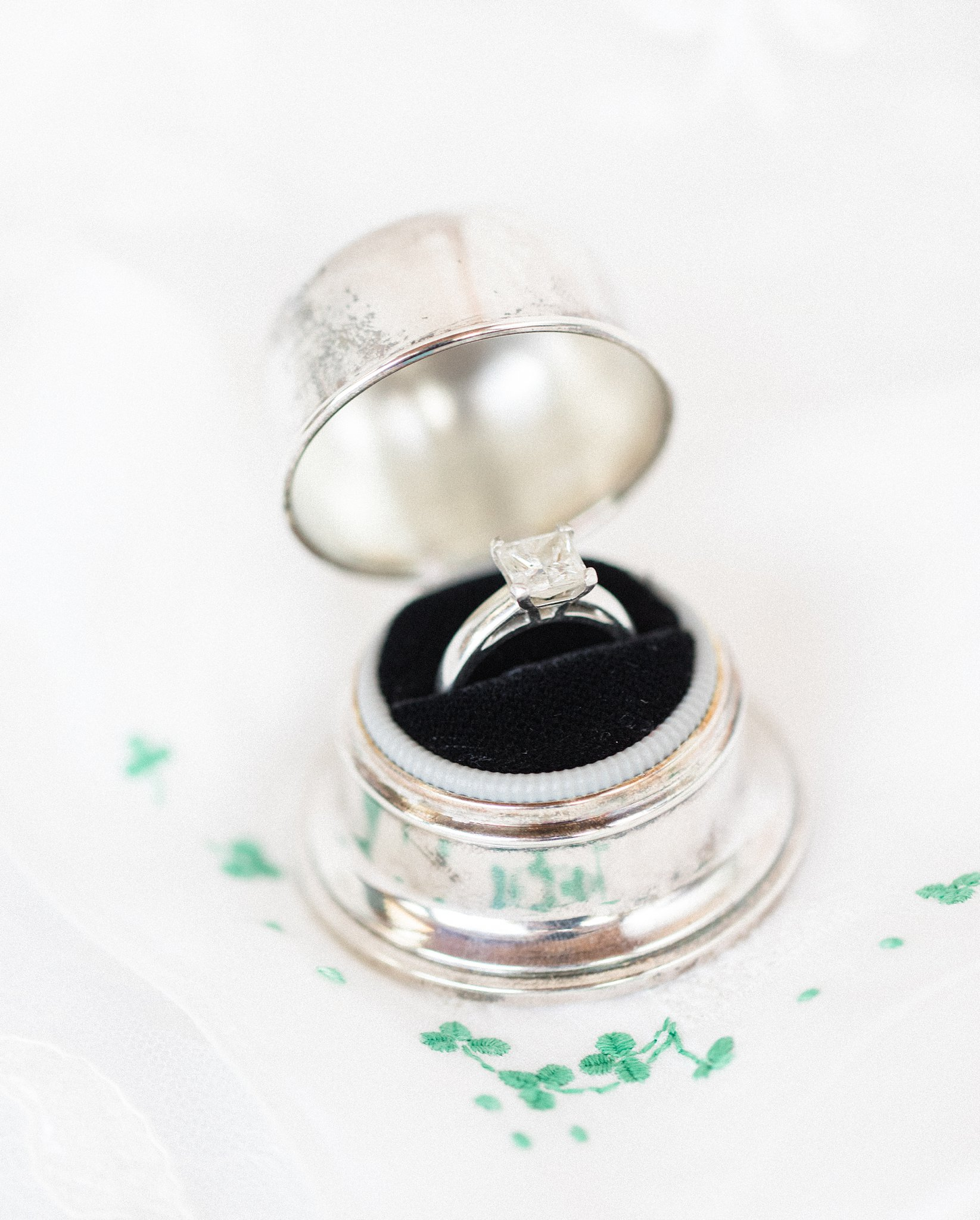 Silver ring box, vintage, Private Estate Wedding Photos, Amy Pinder Photography