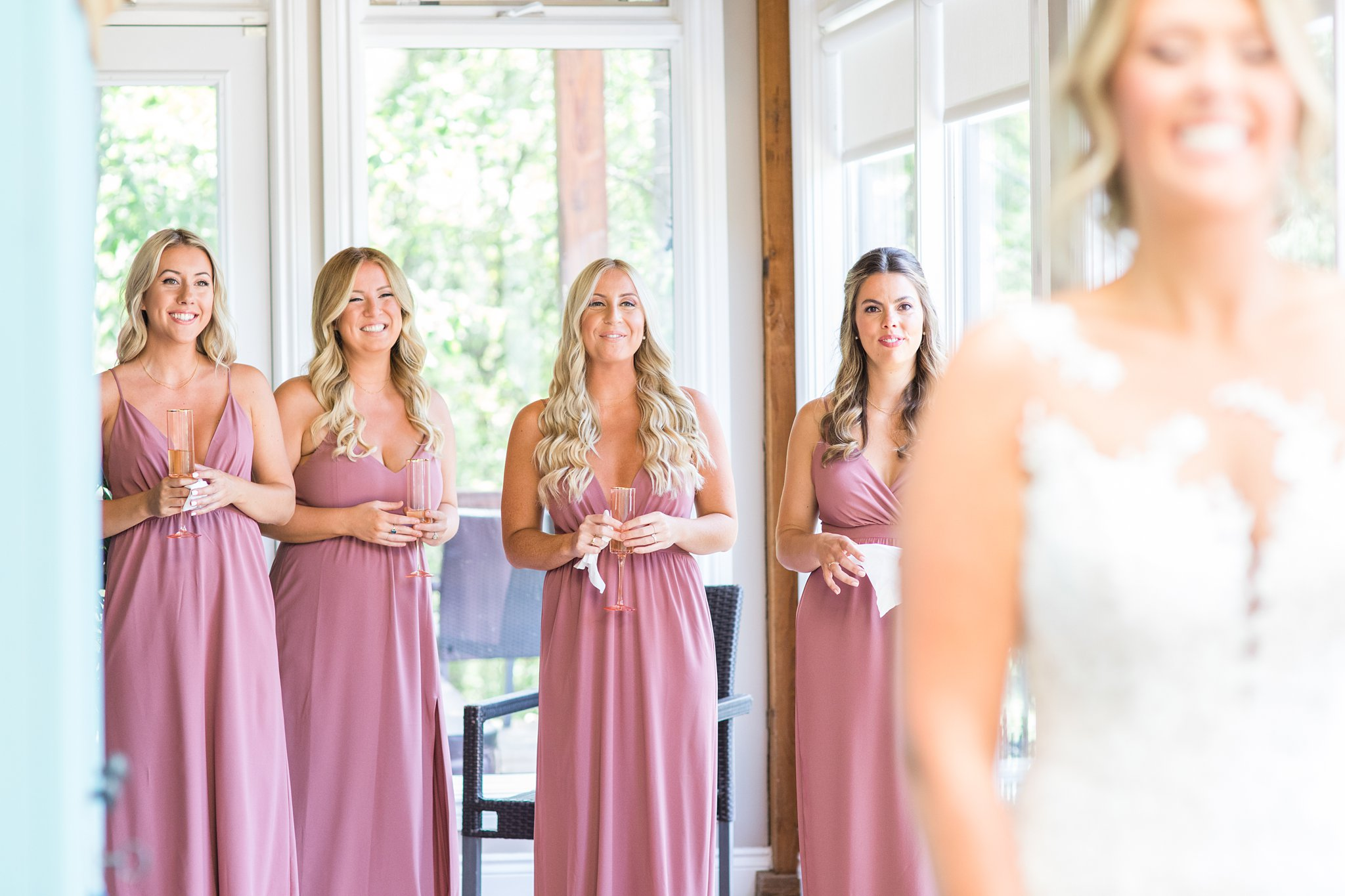 First look with bridesmaids, Dusty mauve, Private Estate Wedding Photos, Amy Pinder Photography