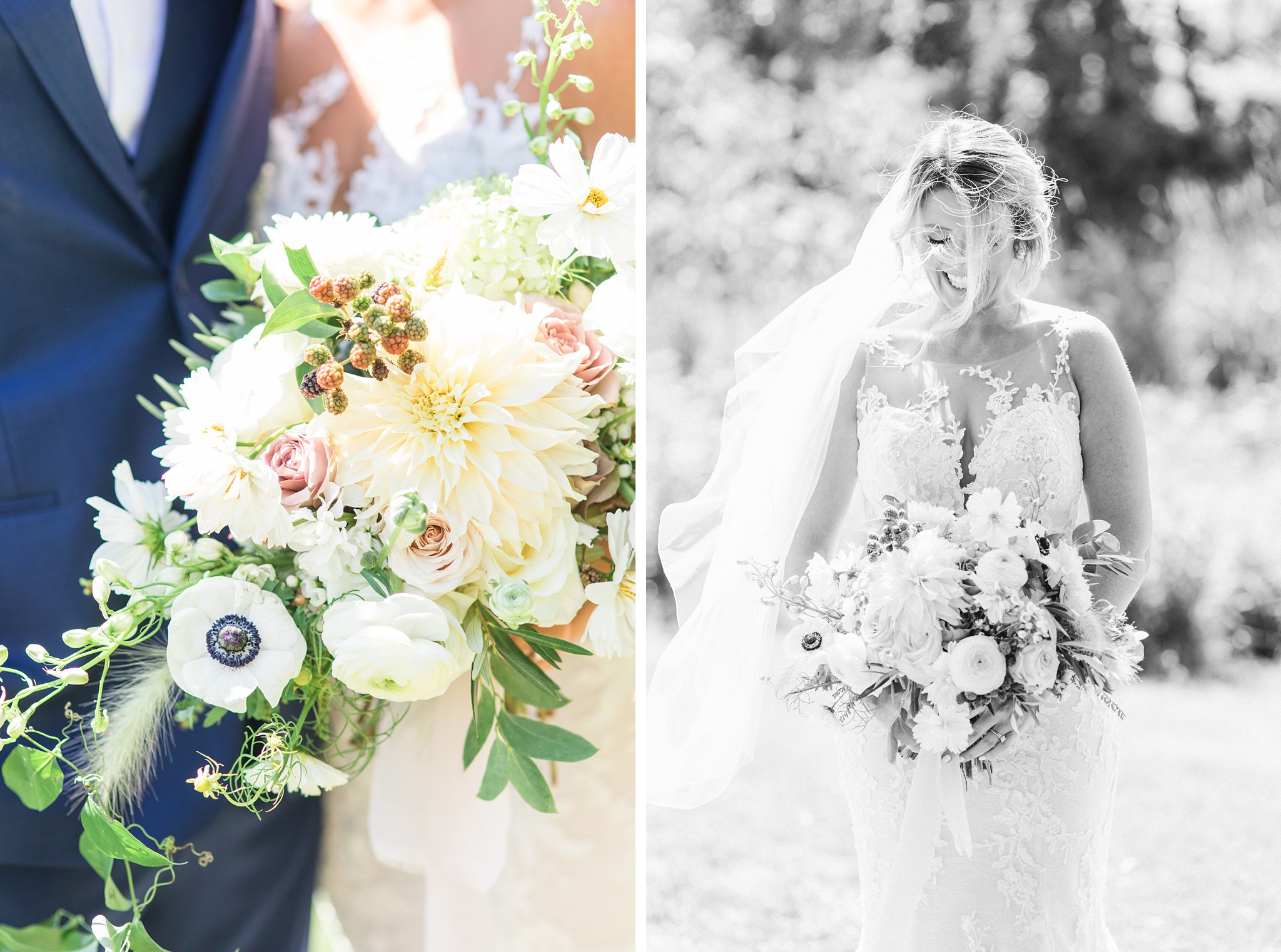Anemone bouquet, white, greenery, bridal, Private Estate Wedding Photos, Amy Pinder Photography