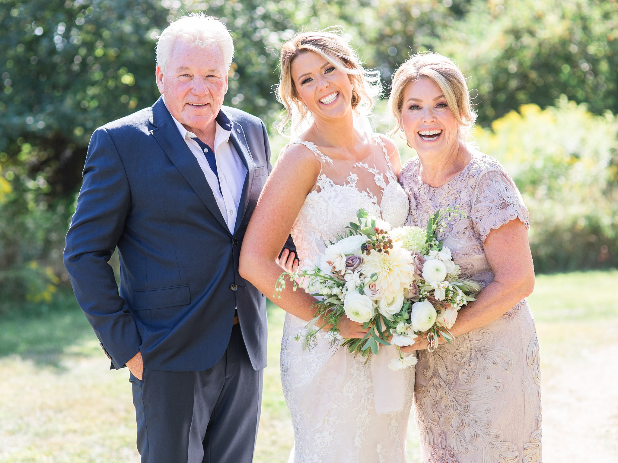 Bride and parents, mob, mother, dad, outdoor, Private Estate Wedding Photos, Amy Pinder Photography