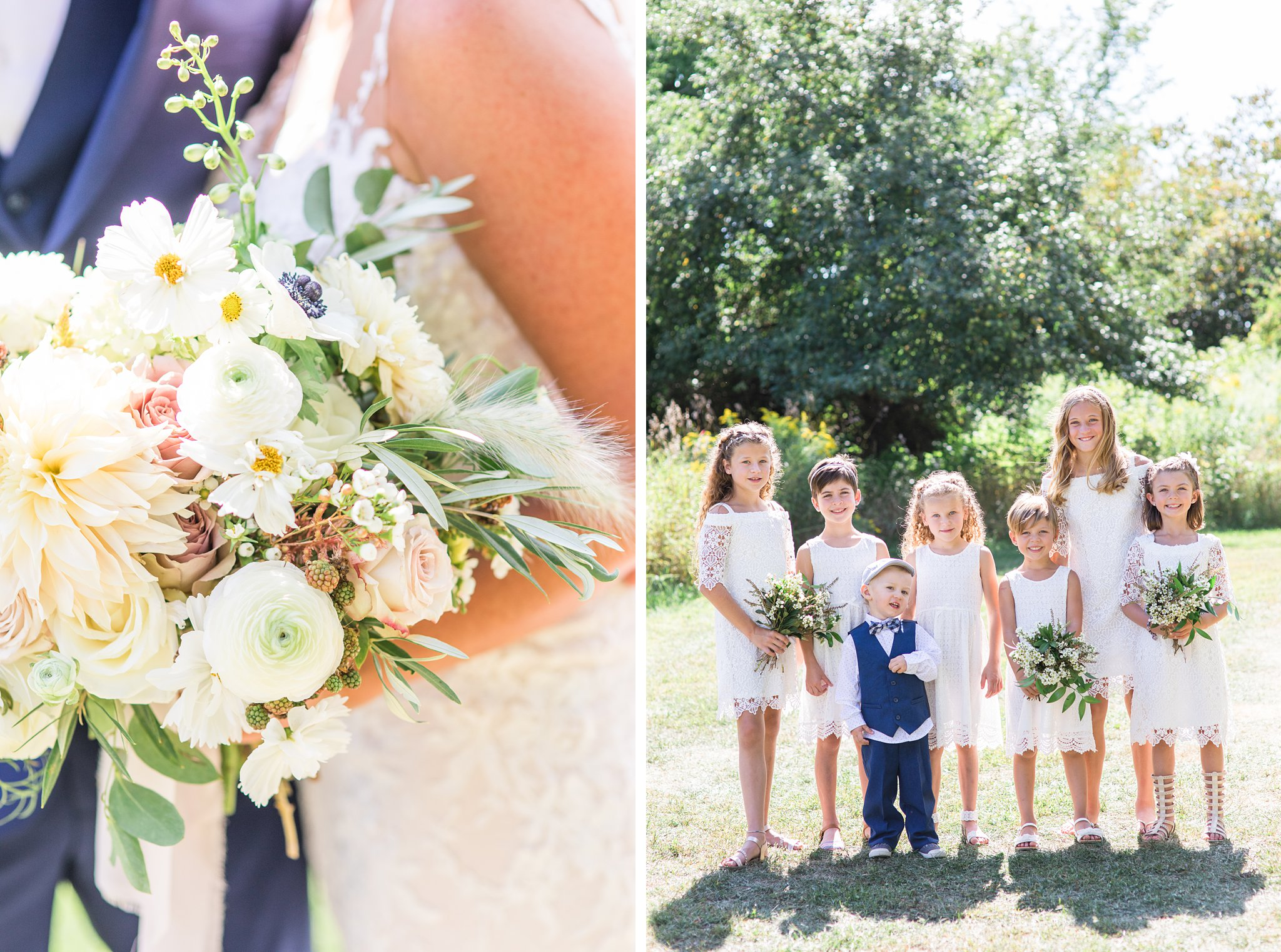 ring bearers and flower girls, soft bouquet, berry, Private Estate Wedding Photos, Amy Pinder Photography