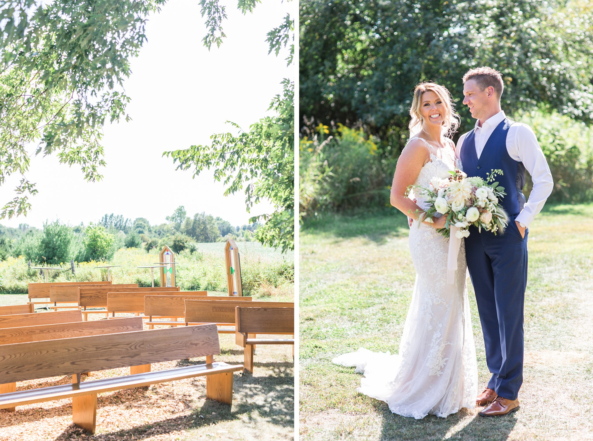 Wedding pews, outdoor ceremony, Private Estate Wedding Photos, Amy Pinder Photography