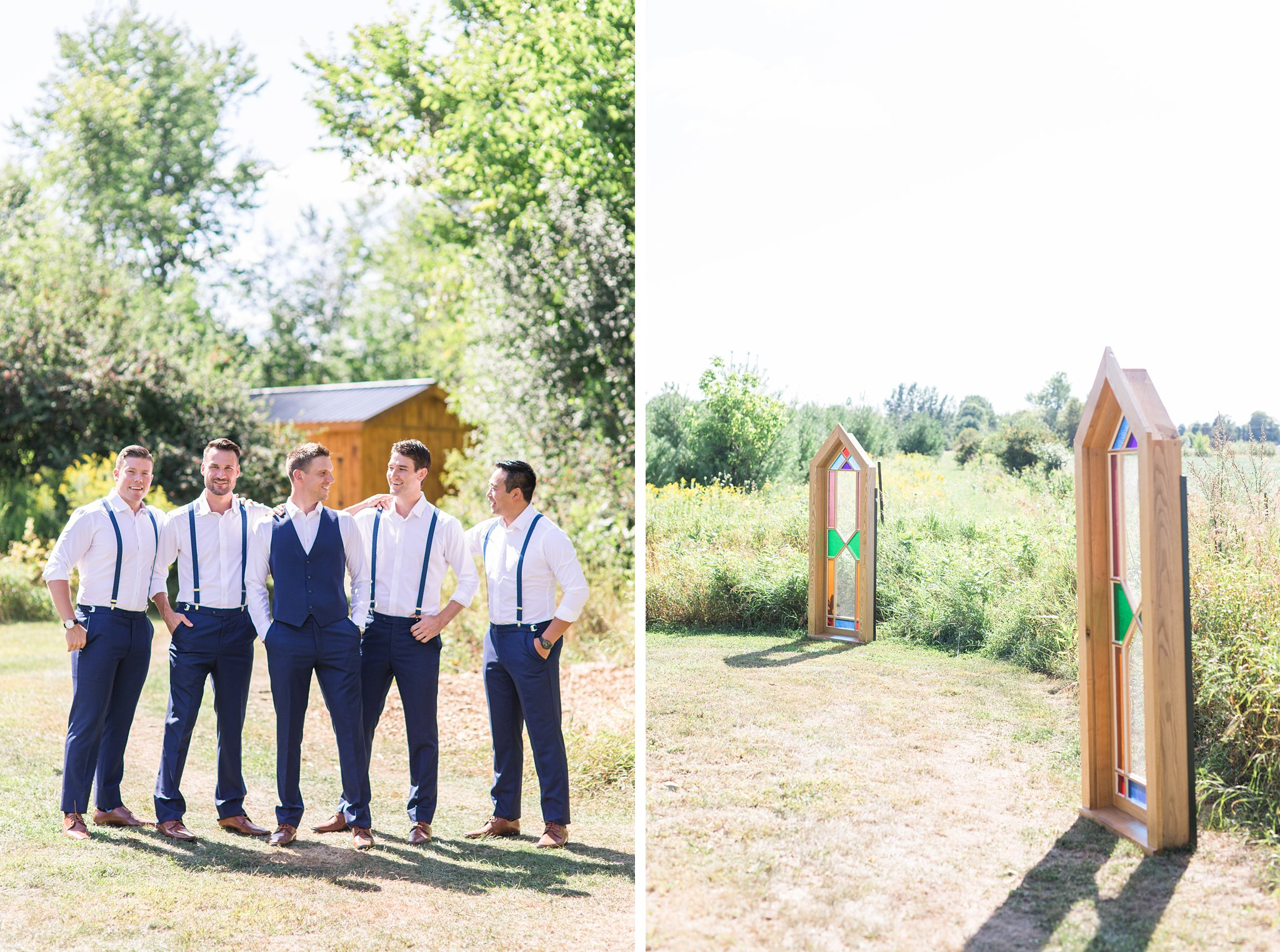 Stained glass, outdoor wedding, groomsmen, Private Estate Wedding Photos, Amy Pinder Photography