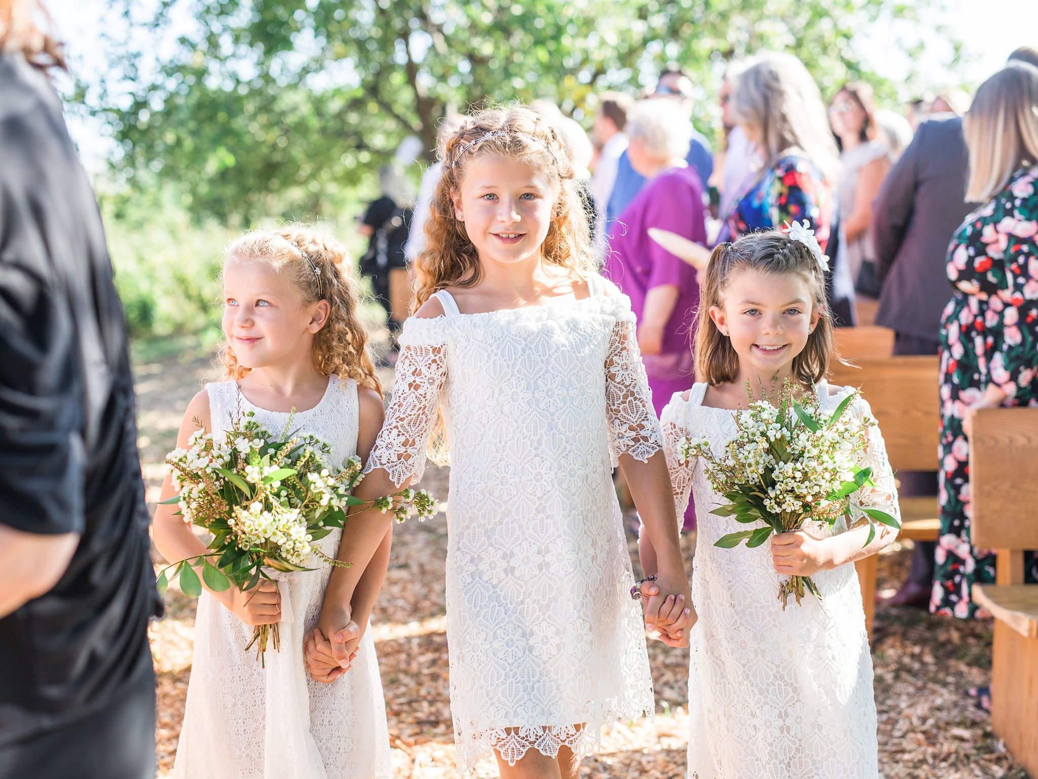 Flower girls, white dresses, bouquet, Private Estate Wedding Photos, Amy Pinder Photography