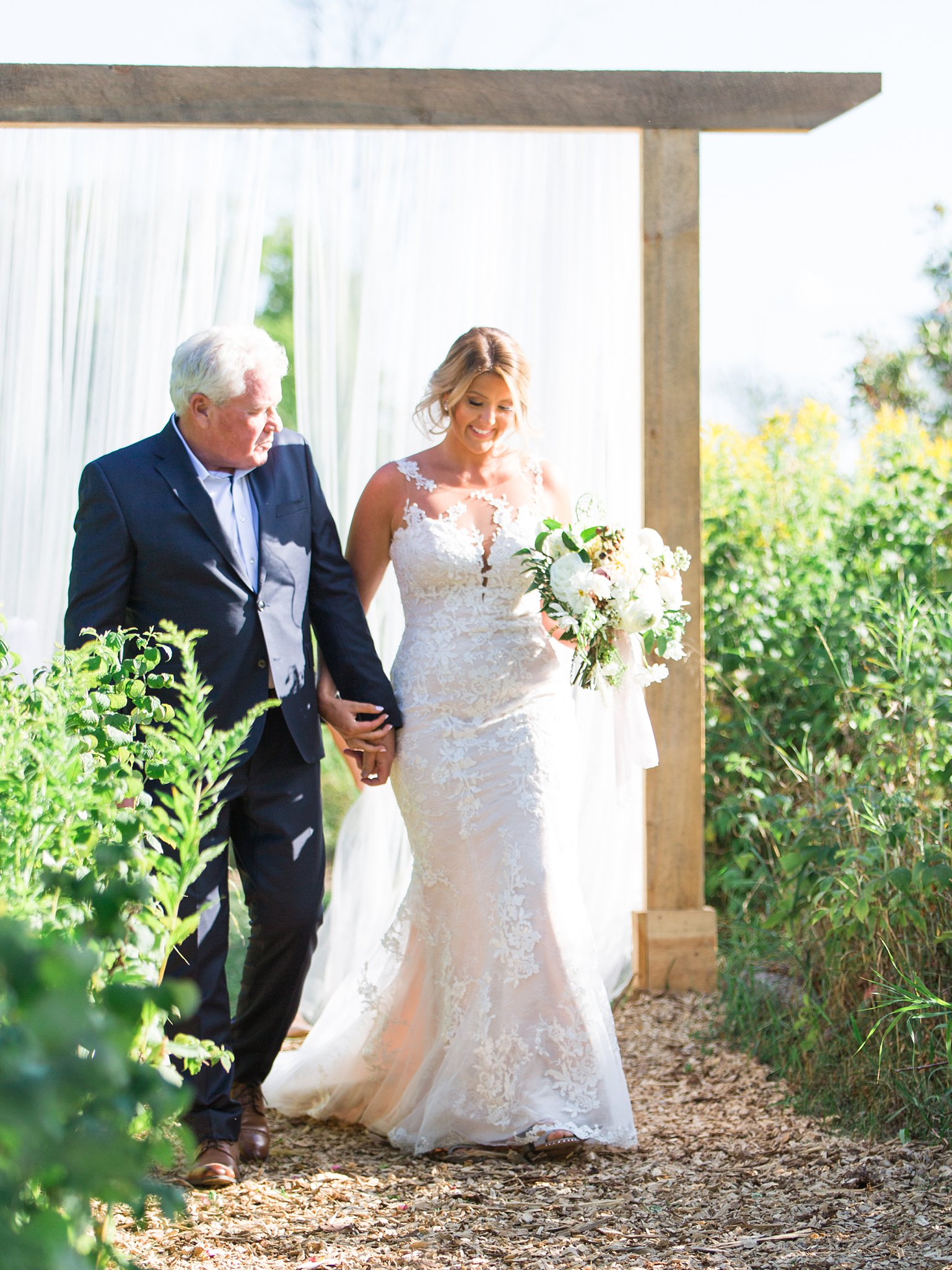 Father walks bride down aisle, sunny day, outdoor ceremony, Private Estate Wedding Photos, Amy Pinder Photography