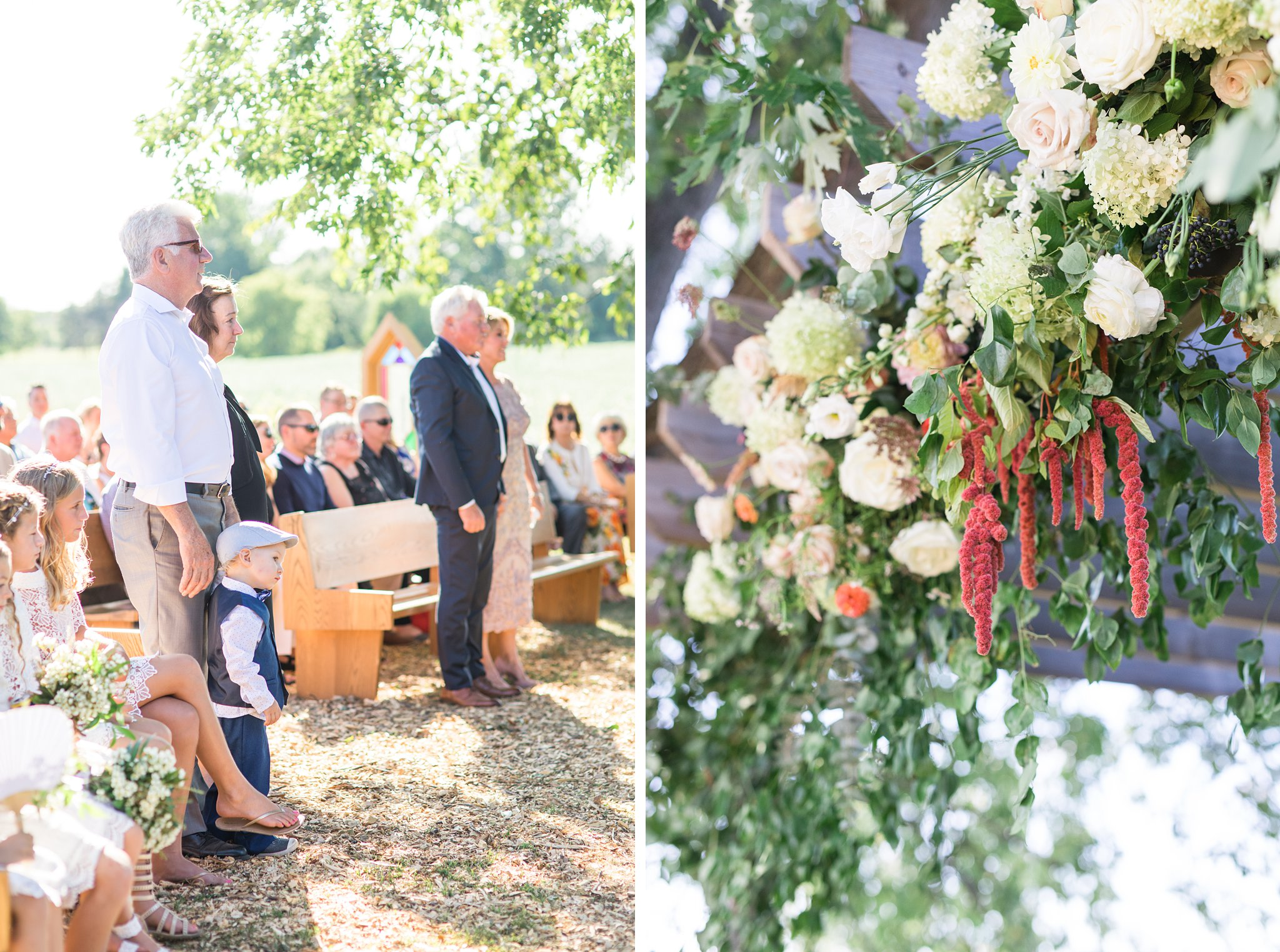 Parents give their blessing, red hanging flowers, Private Estate Wedding Photos, Amy Pinder Photography