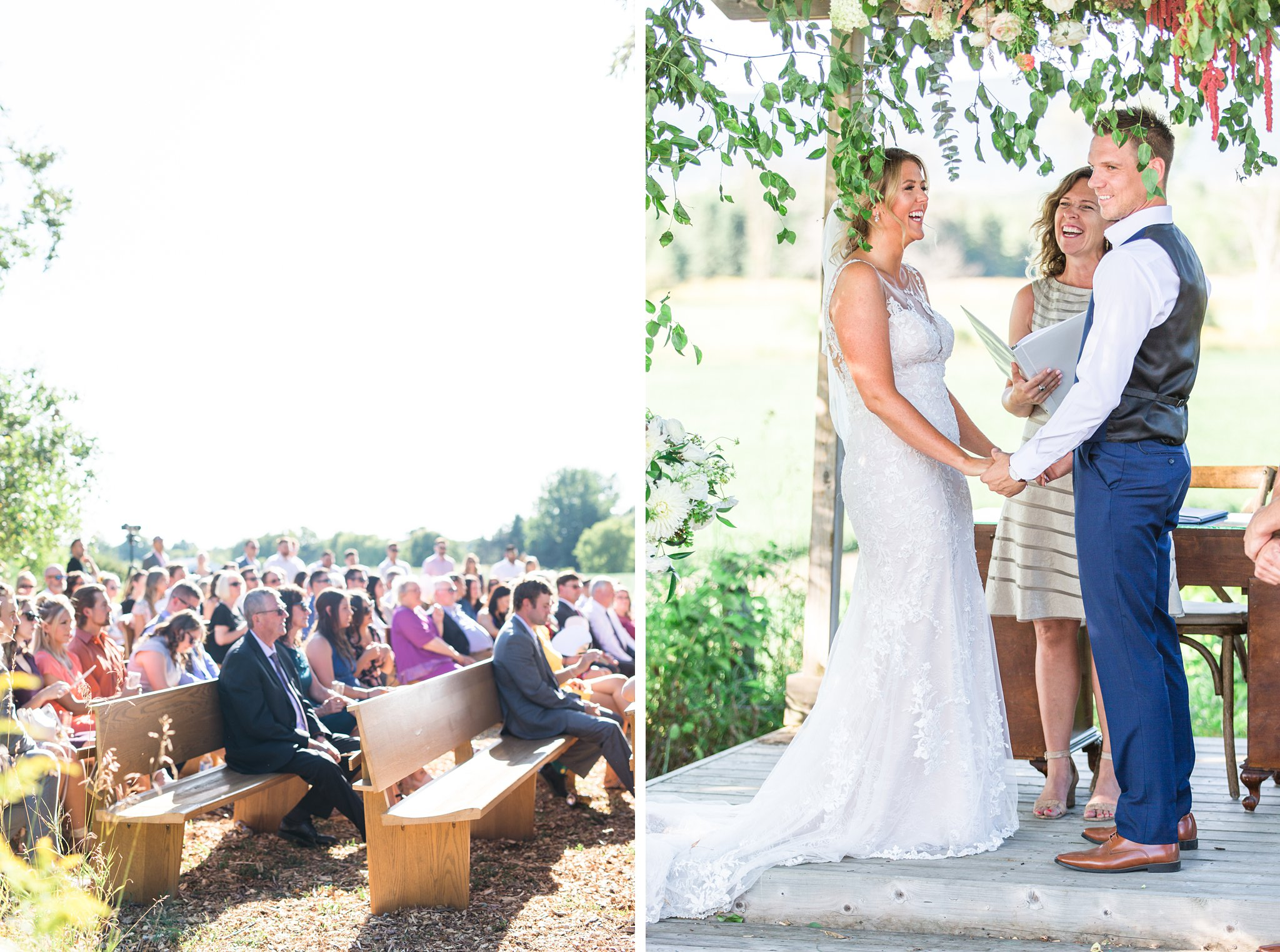 Guests sit outside on church pews, Private Estate Wedding Photos, Amy Pinder Photography
