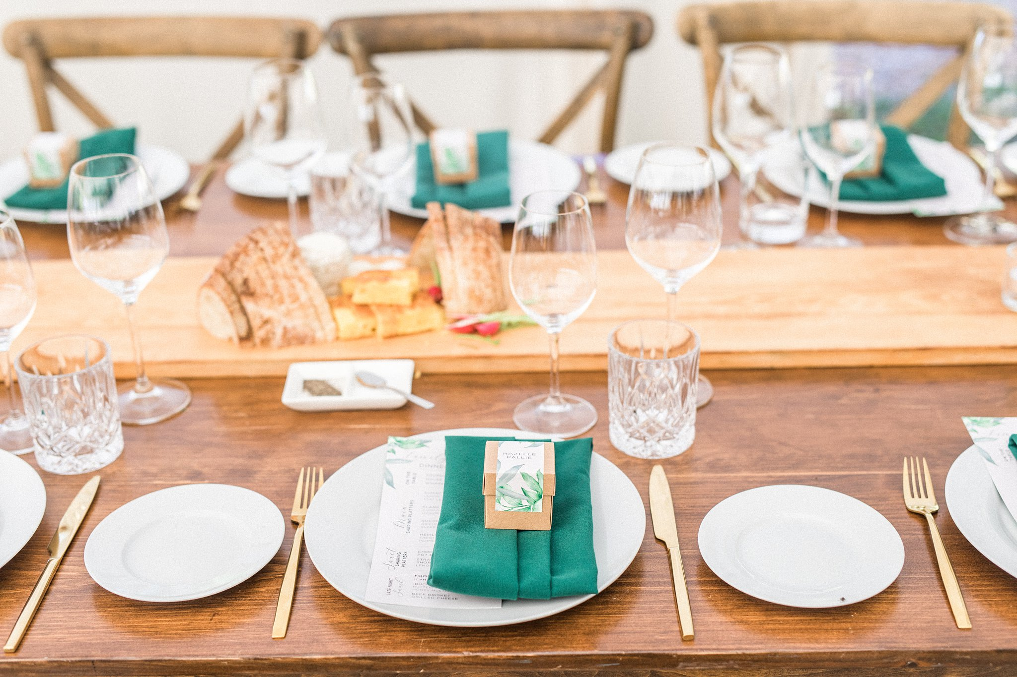Gold cutlery, emerald napkin, wood tables, family style catering, Private Estate Wedding Photos, Amy Pinder Photography