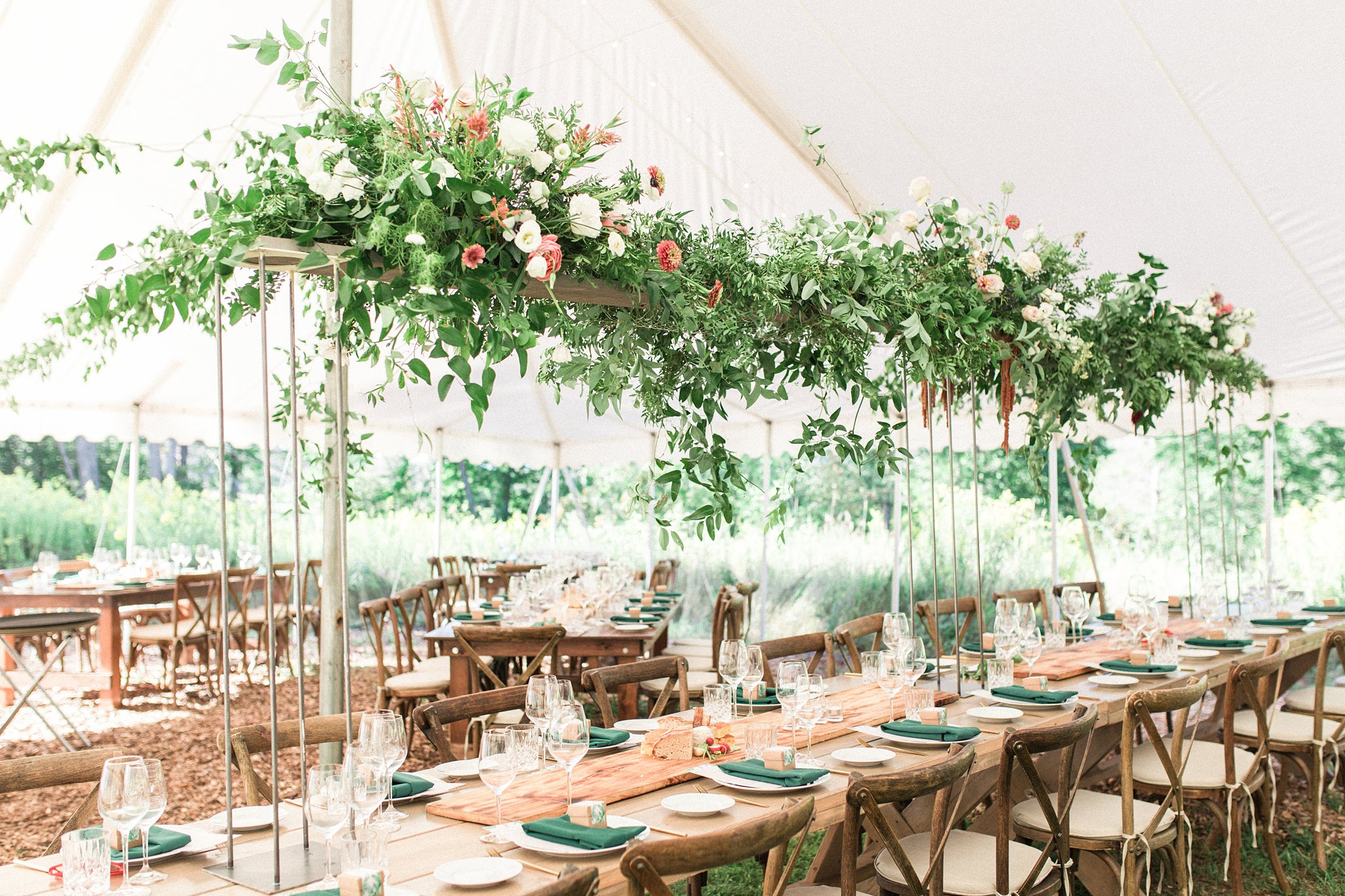 Floating greenery centerpiece, Private Estate Wedding Photos, Amy Pinder Photography