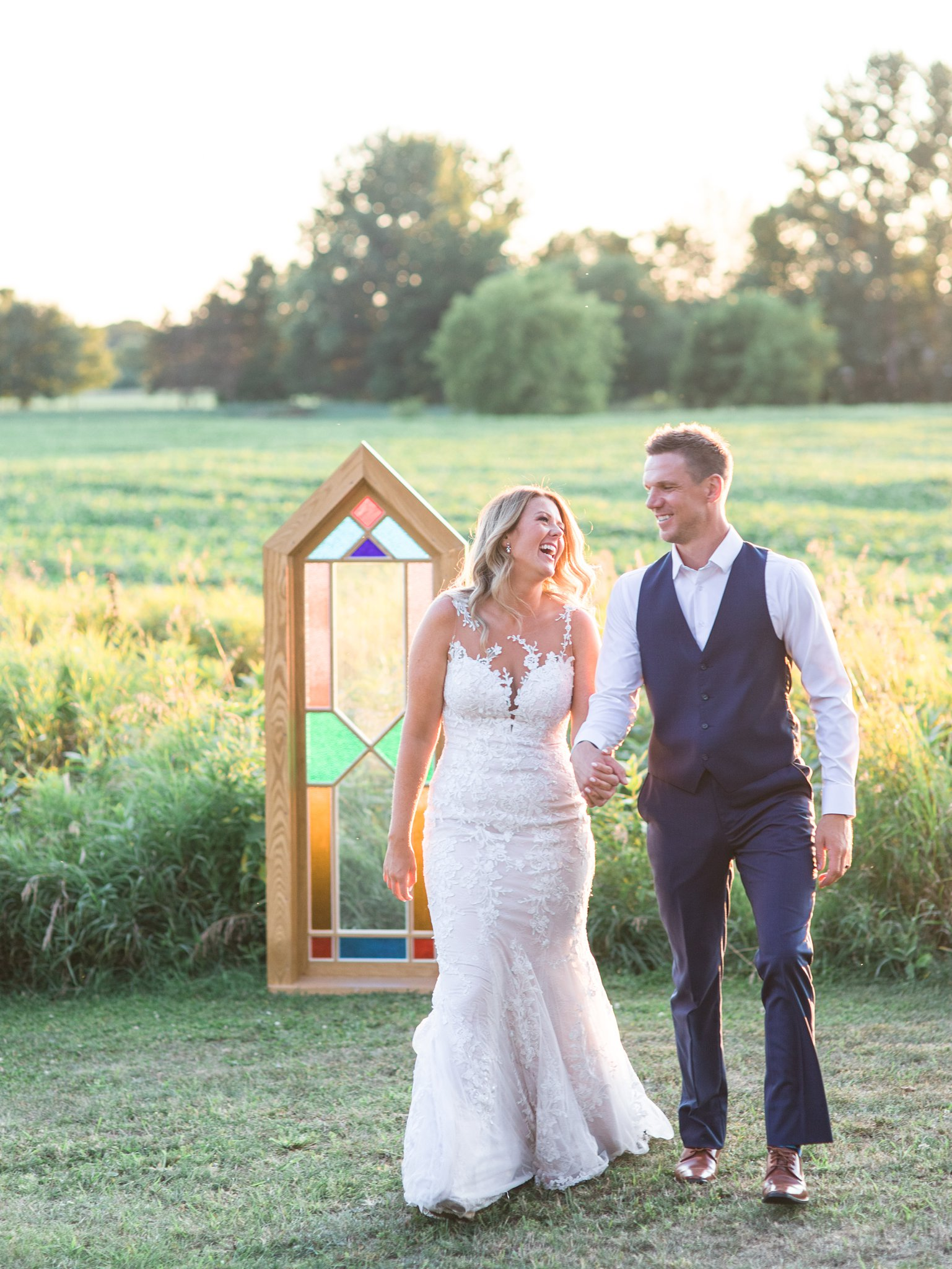 Sunset photos, stained glass, ceremony, golden hour, bride, groom, Private Estate Wedding Photos, Amy Pinder Photography