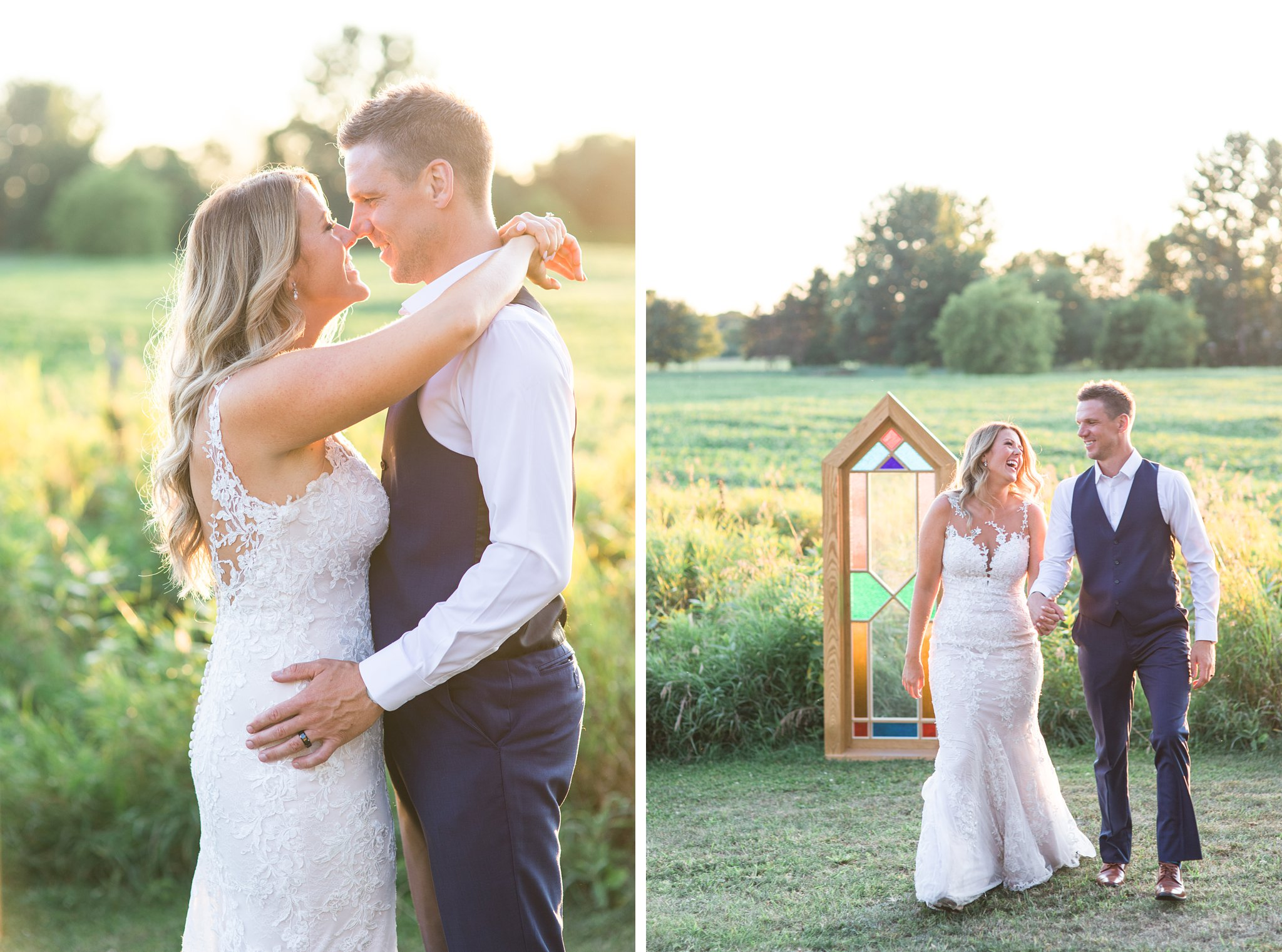 Sunset photos, stained glass window, field, Private Estate Wedding Photos, Amy Pinder Photography