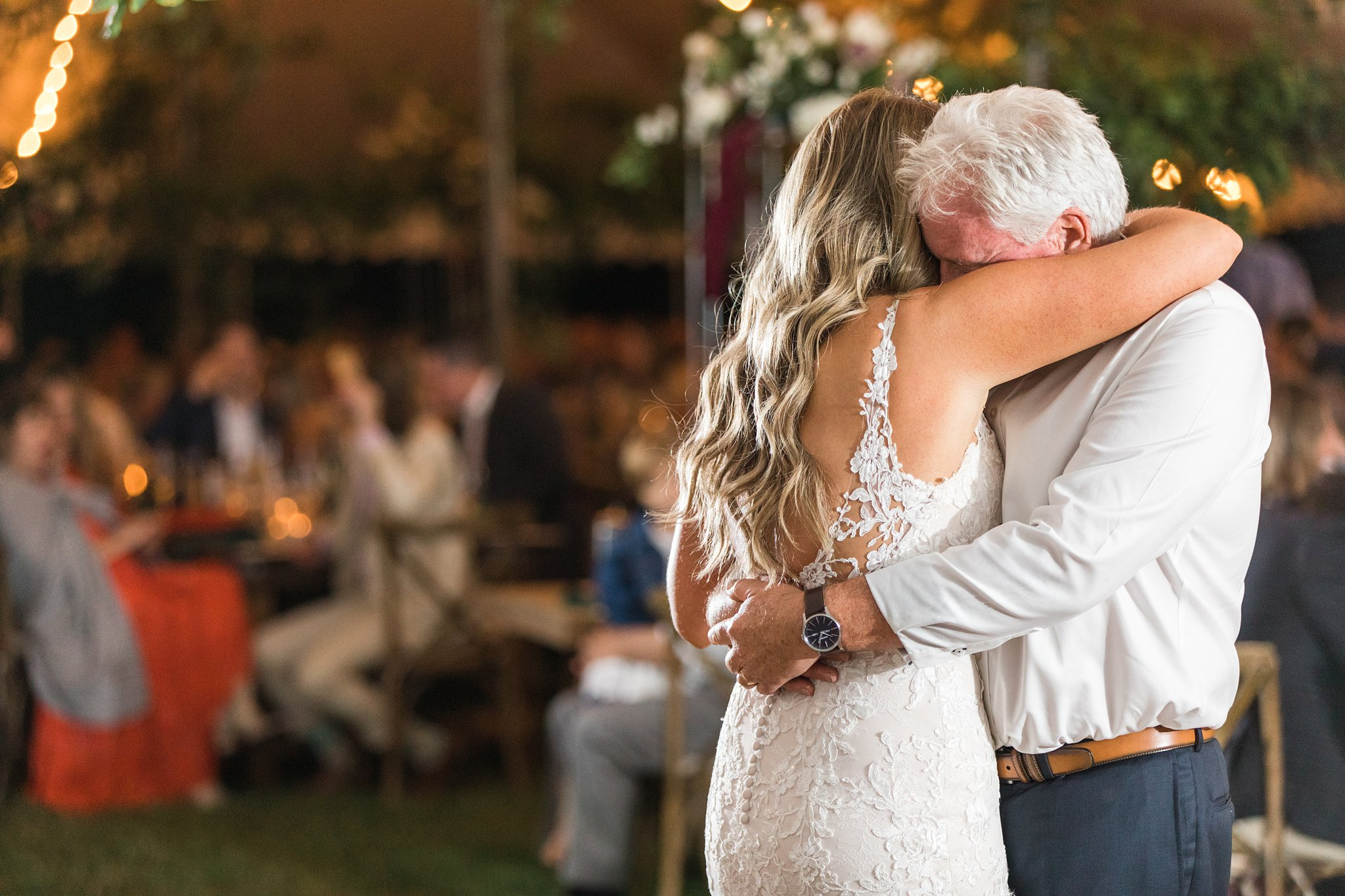 Bride and father hug, dance, Private Estate Wedding Photos, Amy Pinder Photography