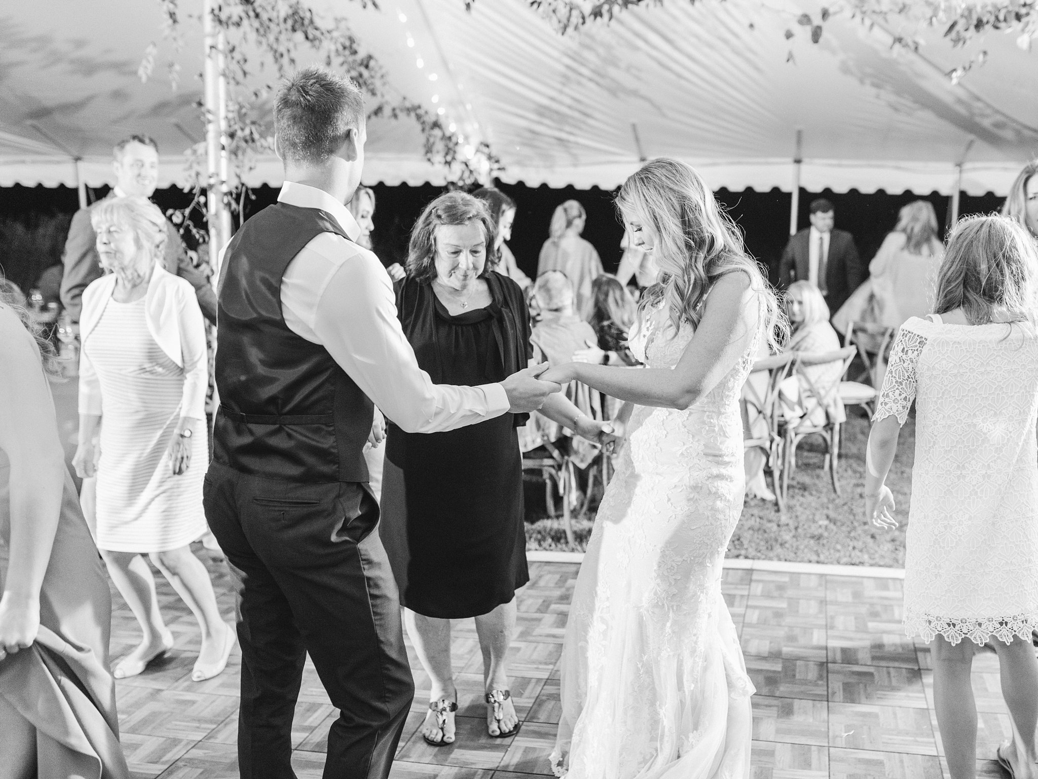 Party dancing, bride, groom, mother of groom, Private Estate Wedding Photos, Amy Pinder Photography