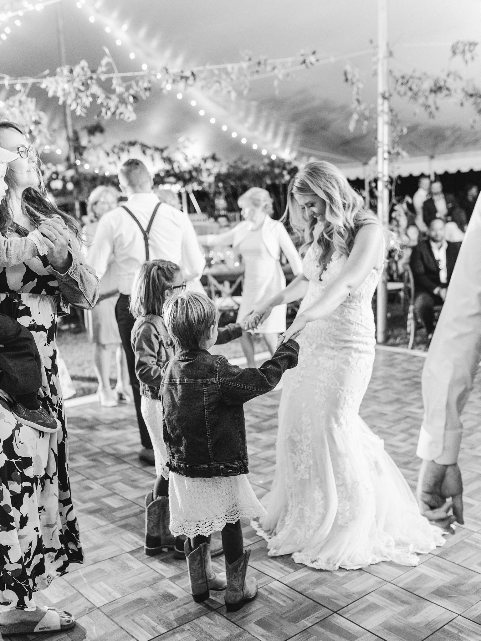 Bride dances with flower girls, tent, Private Estate Wedding Photos, Amy Pinder Photography