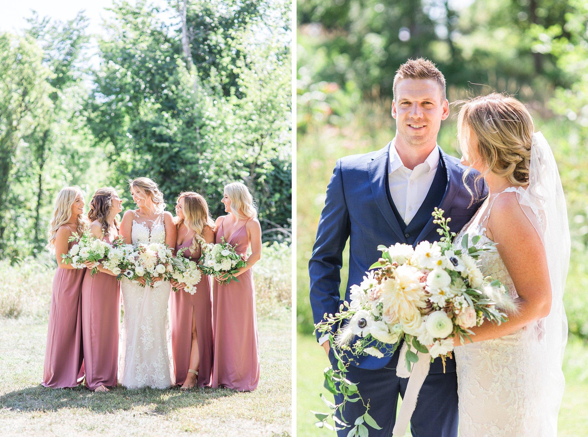 Mauve bridesmaid dresses, groom, blue suit, no tie, Private Estate Wedding Photos, Amy Pinder Photography