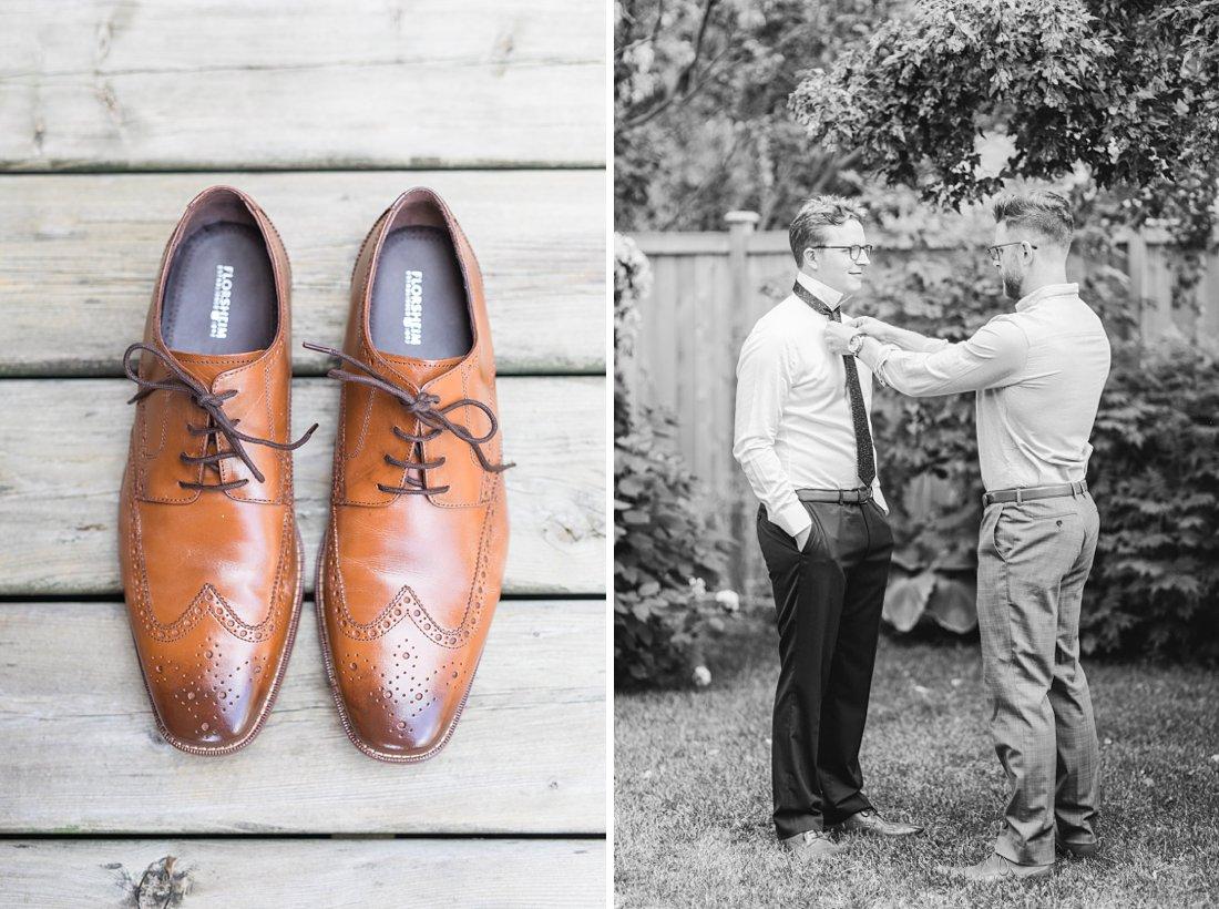 Cognac shoes, brown wedding shoes, groomsmen, Social Restaurant Wedding Photos Ottawa