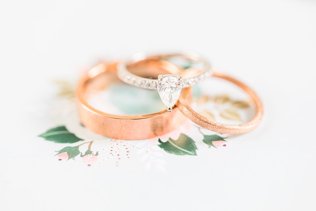 Copper gold wedding bands with pear shaped engagement ring, Social Restaurant Wedding Photos Ottawa