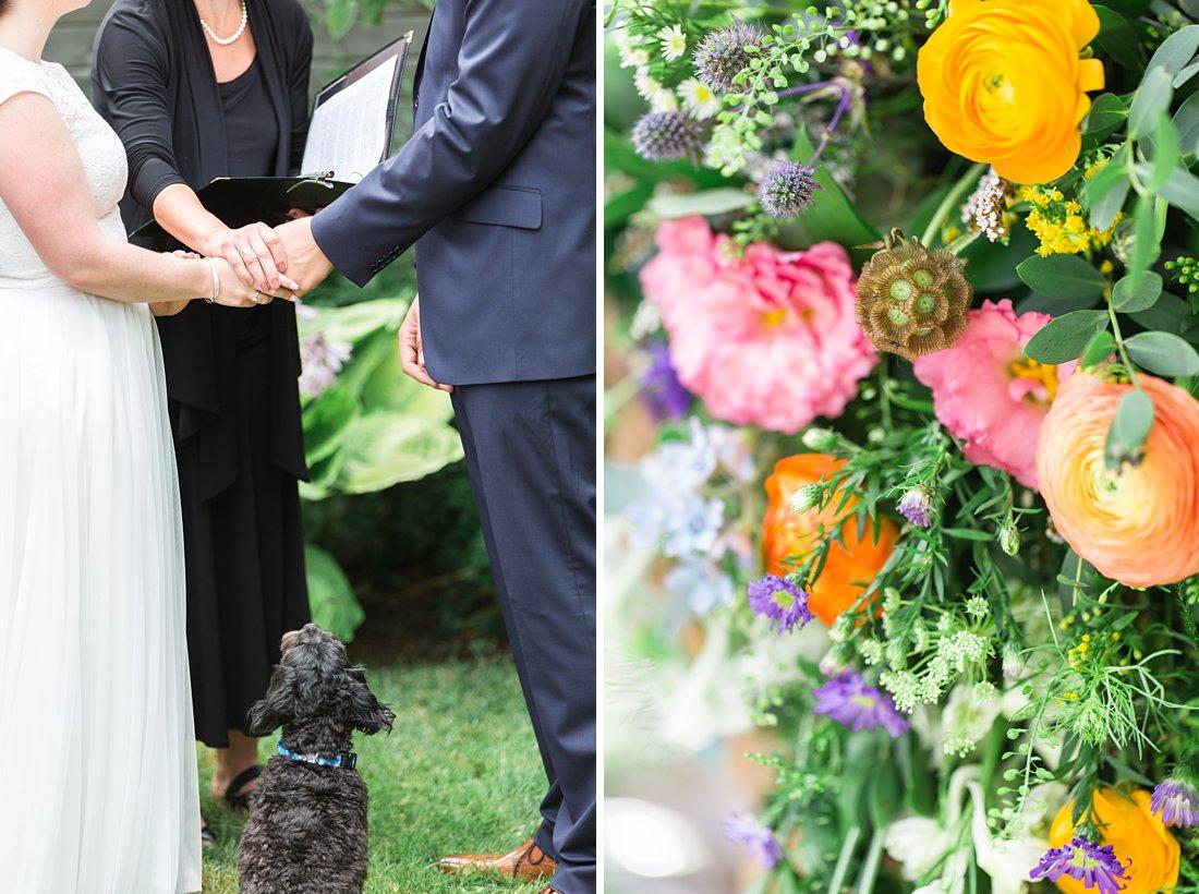 Dog sitting by owner's feet, wedding ceremony, Social Restaurant Wedding Photos Ottawa