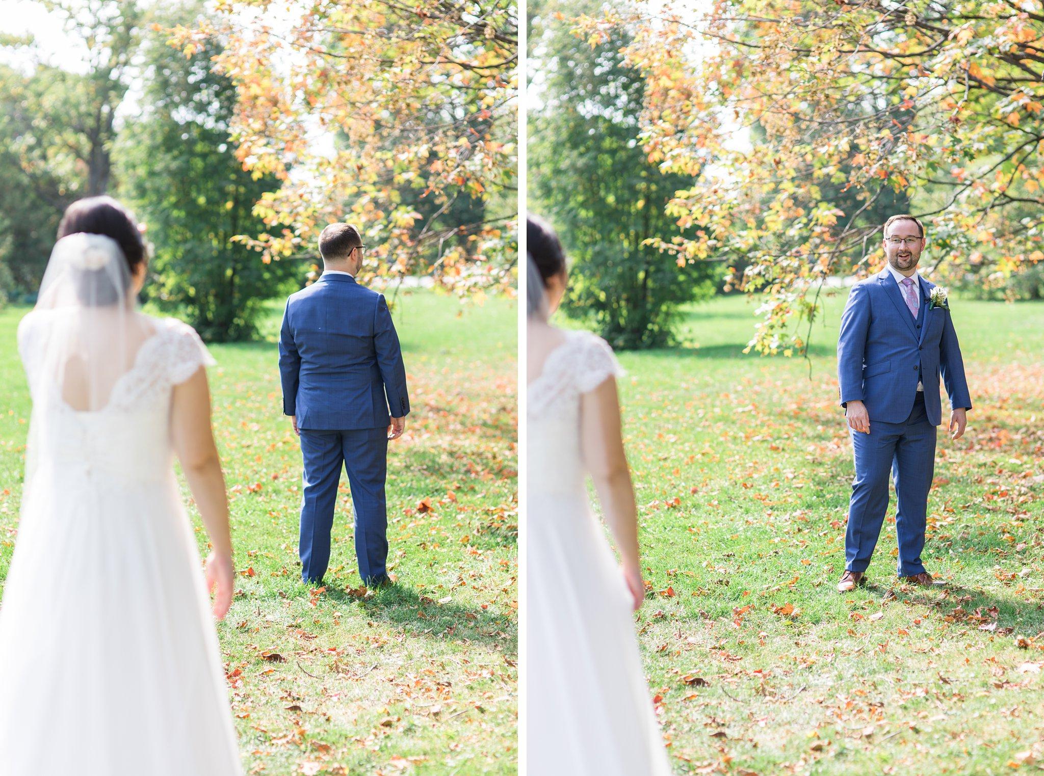 First look reaction, fall wedding colours, Britannia Yacht Club Wedding Photos, Amy Pinder Photography