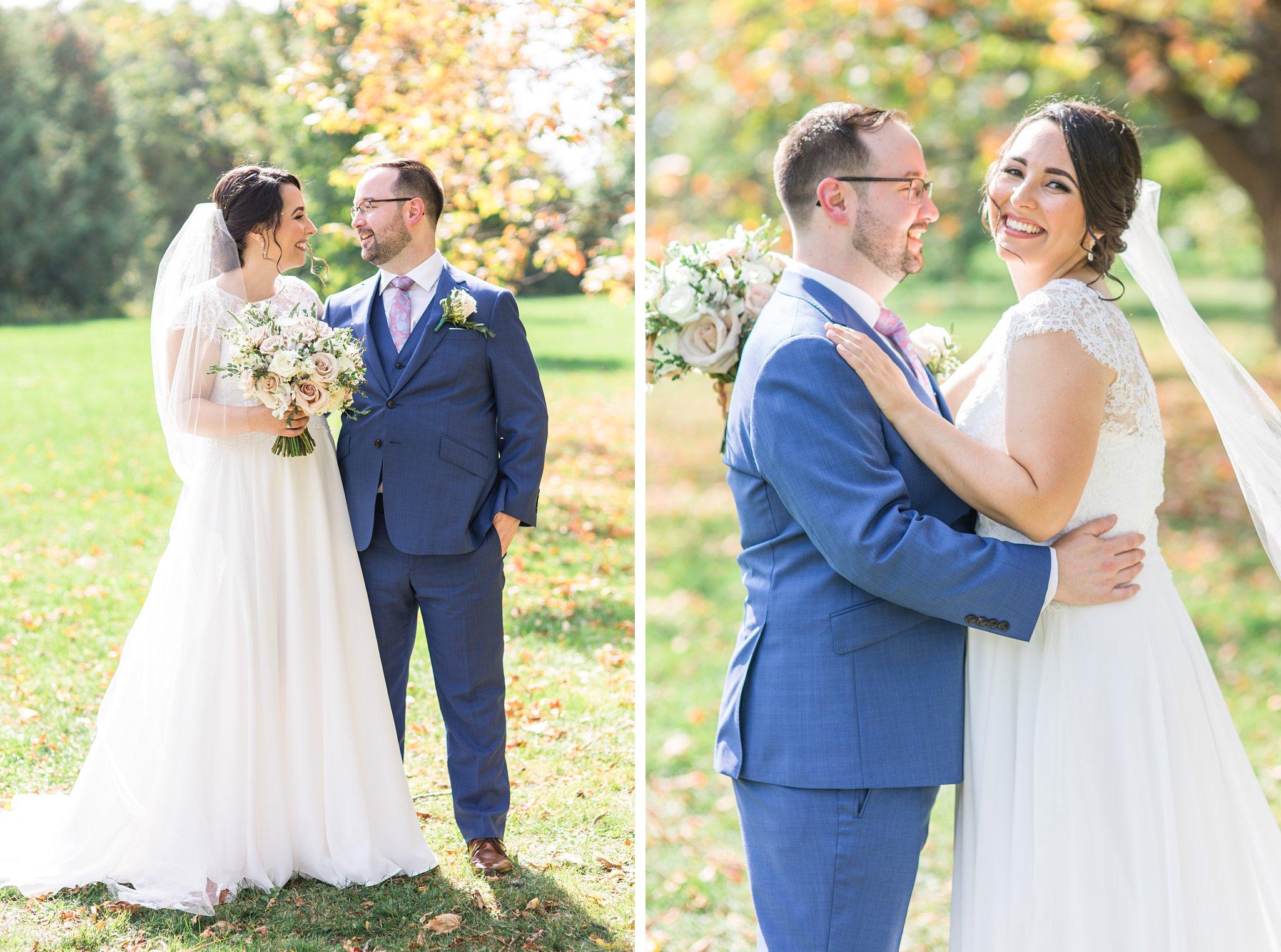 Laughing bride, Arboretum fall foliage, Britannia Yacht Club Wedding Photos, Amy Pinder Photography