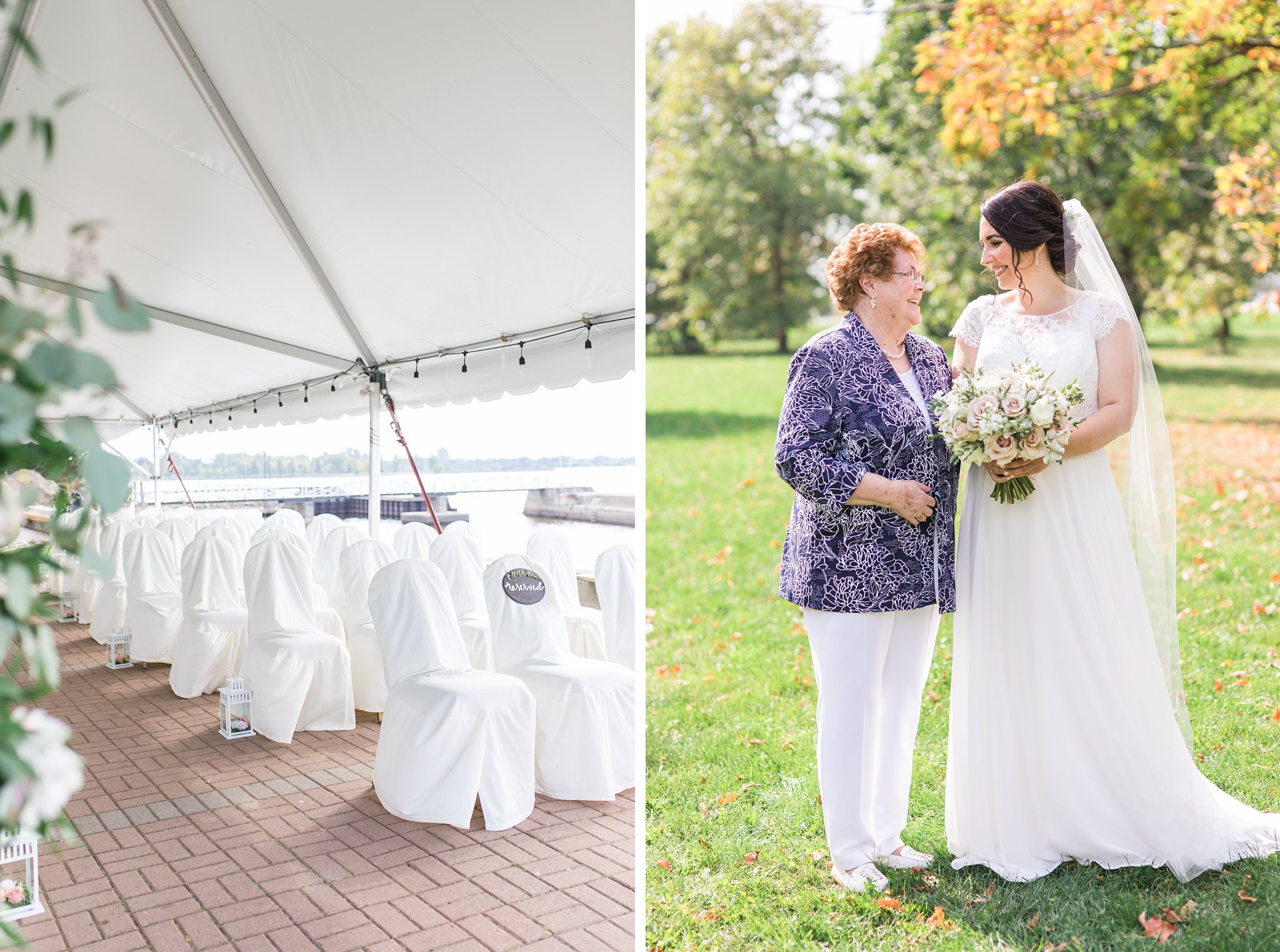 Chair covers in outdoor ceremony under tent, Britannia Yacht Club Wedding Photos, Amy Pinder Photography