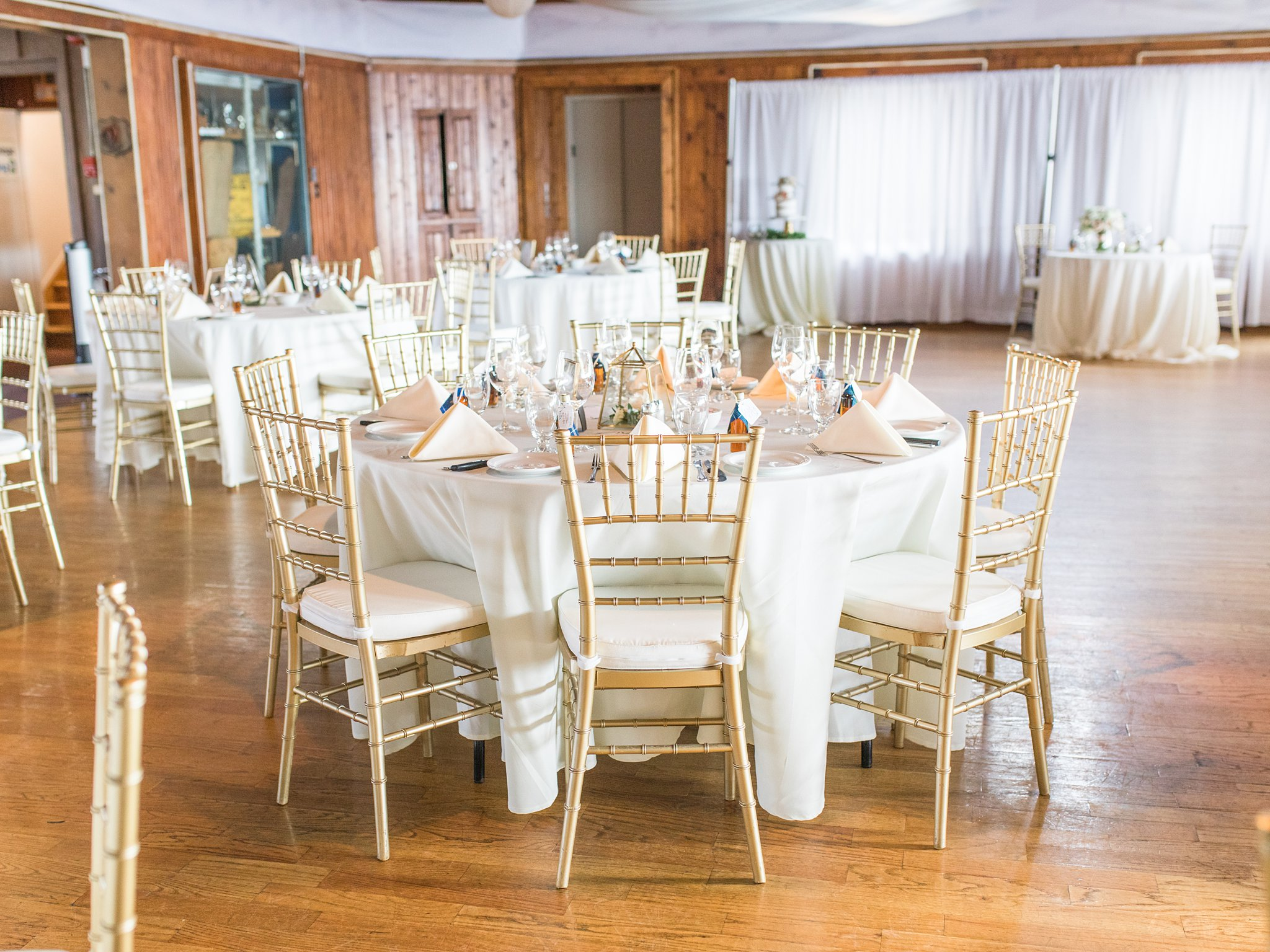 Gold chiavari chairs, Britannia Yacht Club Wedding Photos, Amy Pinder Photography