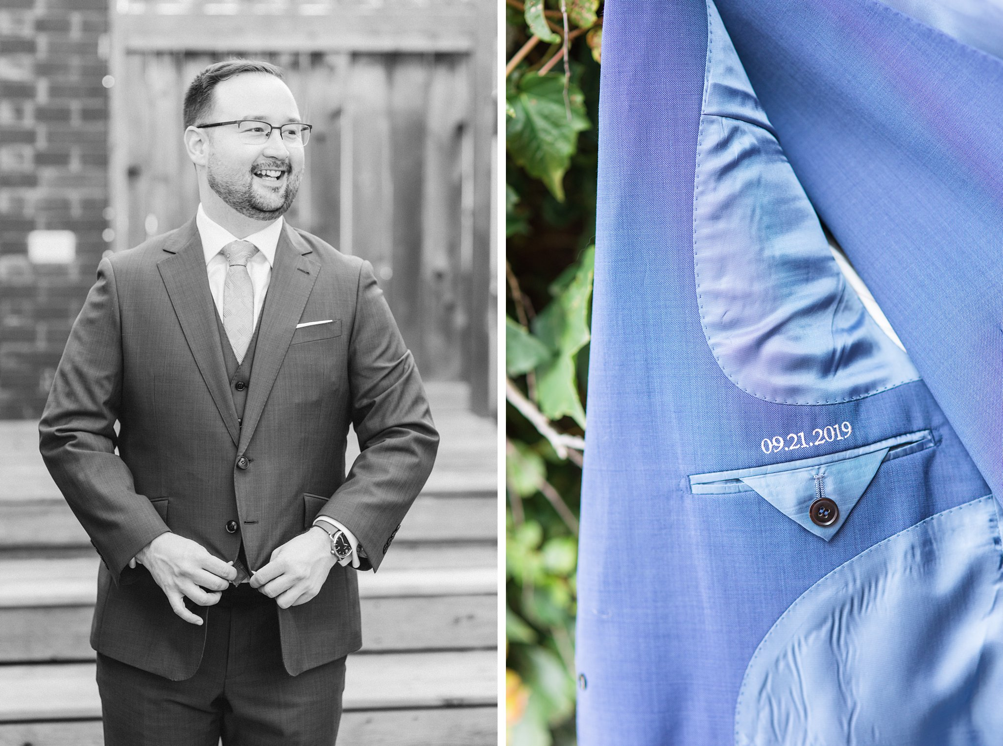 Custom blue suit jacket, wedding date stitched in pocket, Britannia Yacht Club Wedding Photos, Amy Pinder Photography