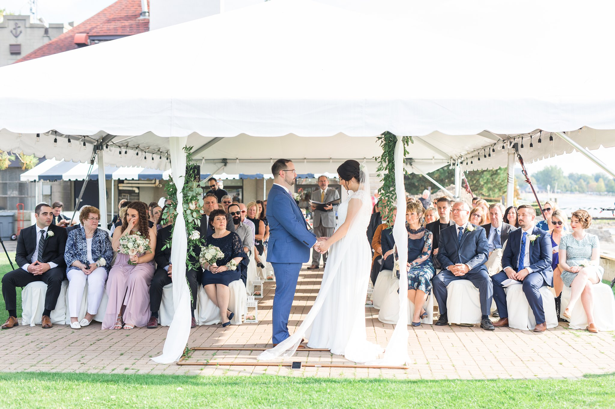 Tent ceremony in Ottawa by the water, Britannia Yacht Club Wedding Photos, Amy Pinder Photography