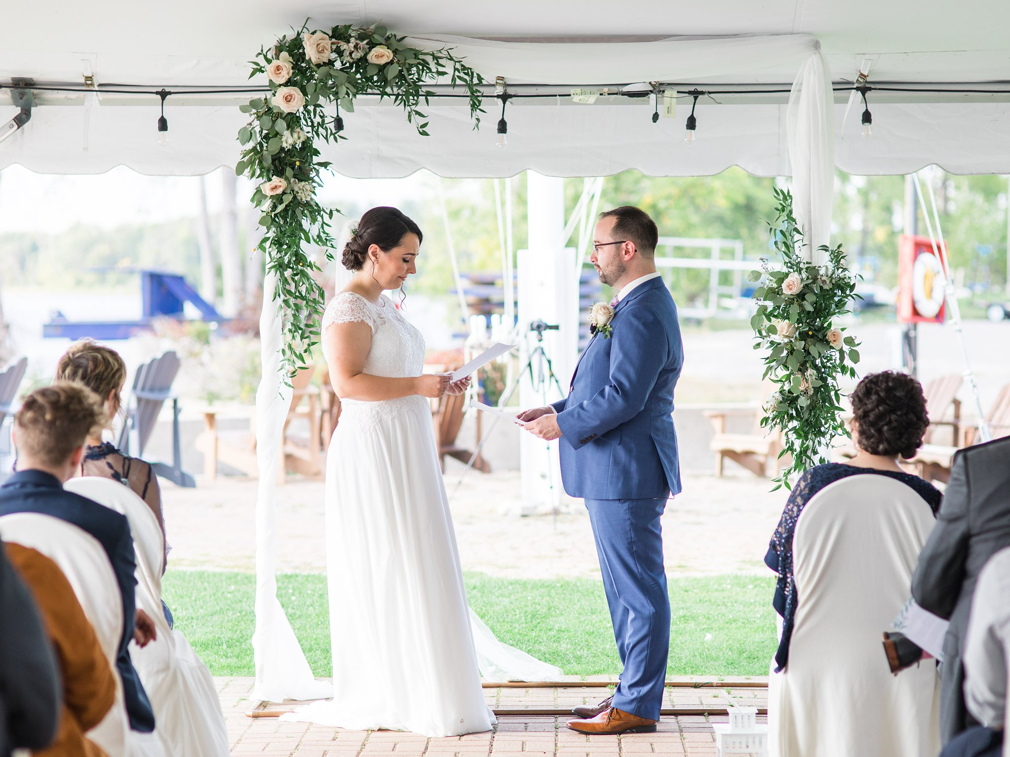 Ceremony by the water in Ottawa, Tent ceremony, Britannia Yacht Club Wedding Photos, Amy Pinder Photography
