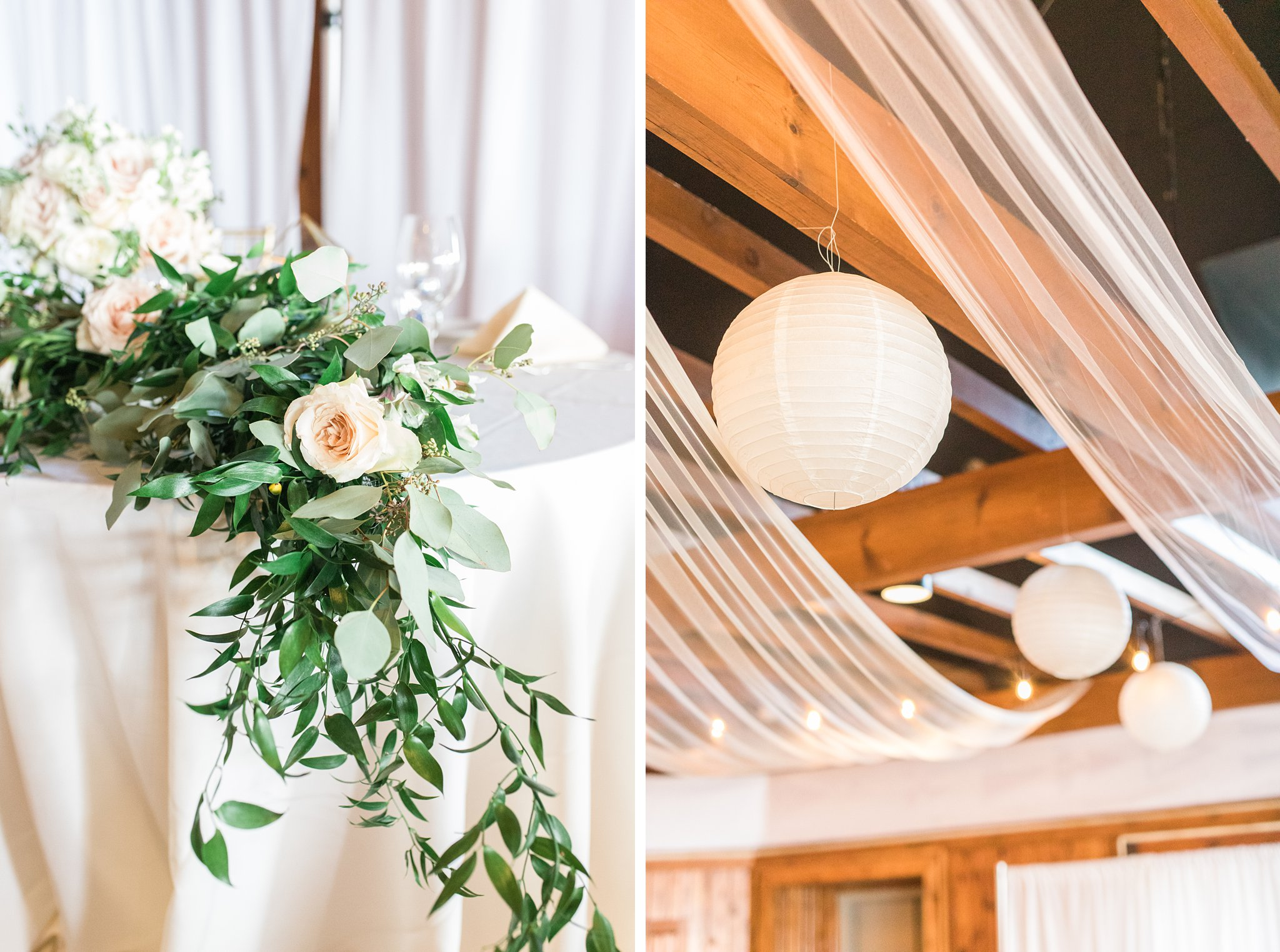 Ceiling drapery and florals, Britannia Yacht Club Wedding Photos, Amy Pinder Photography