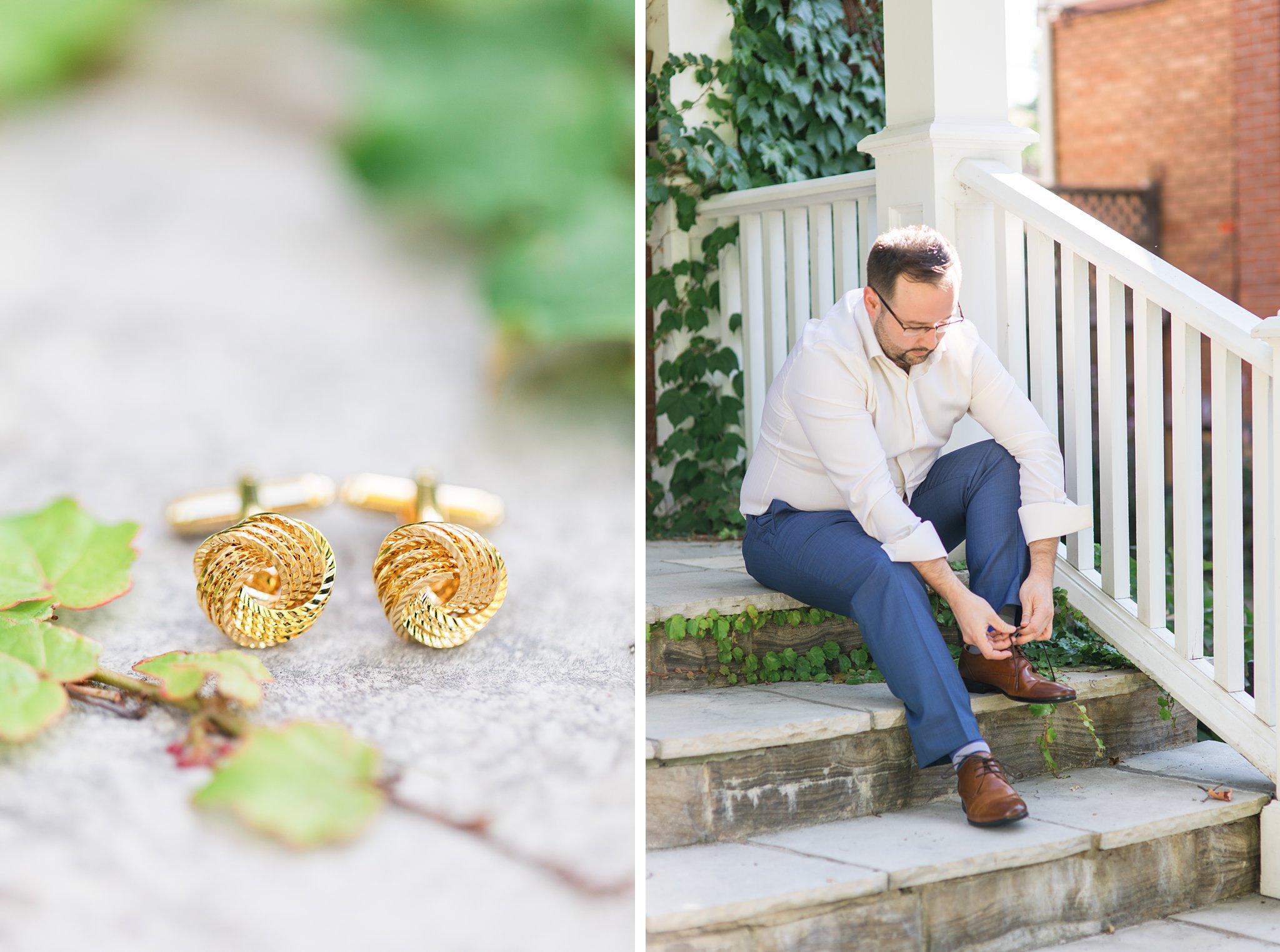 Gold cufflinks, Britannia Yacht Club Wedding Photos, Amy Pinder Photography