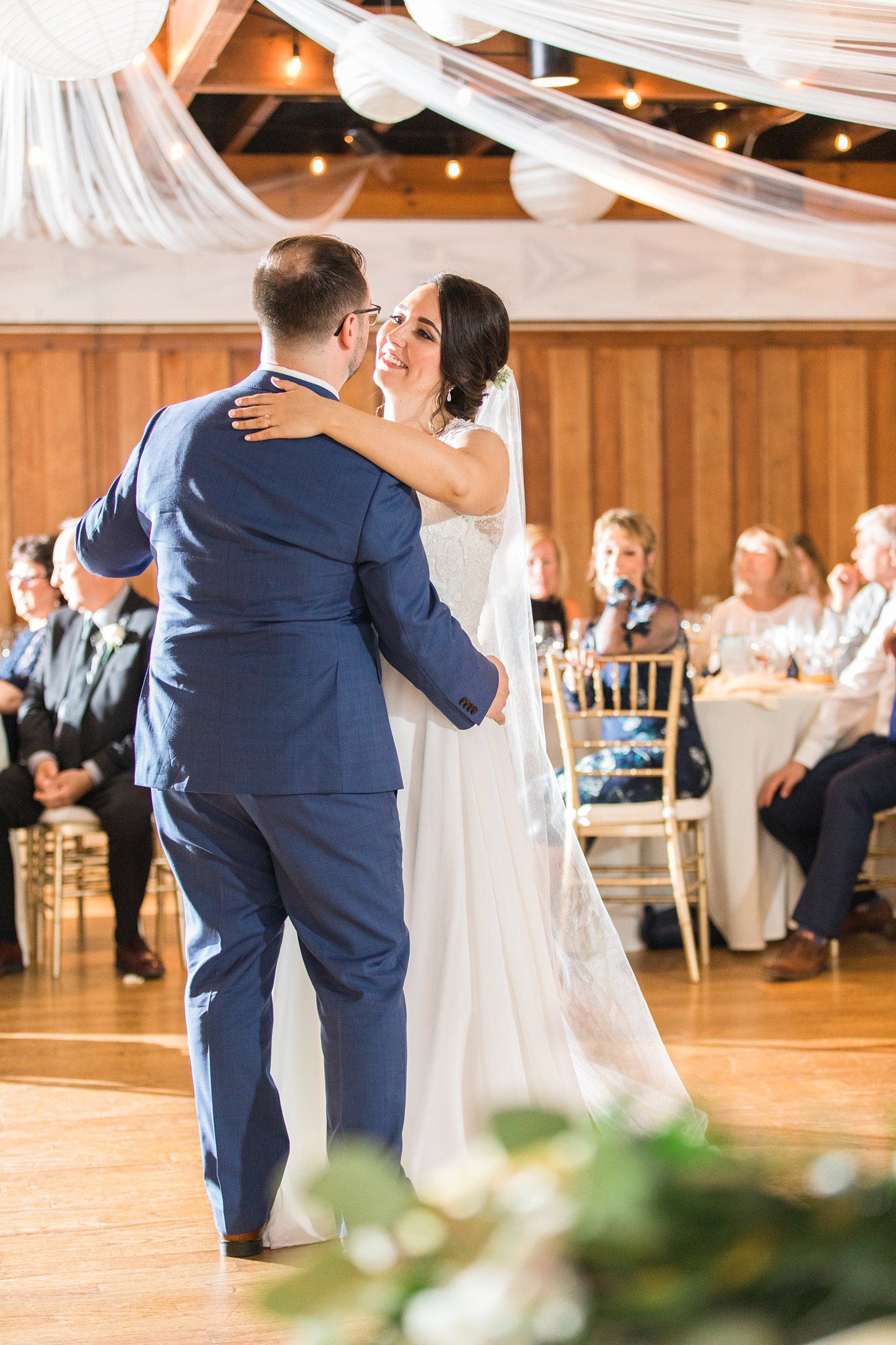Bride and groom's first dance under twinkle lights, Britannia Yacht Club Wedding Photos, Amy Pinder Photography
